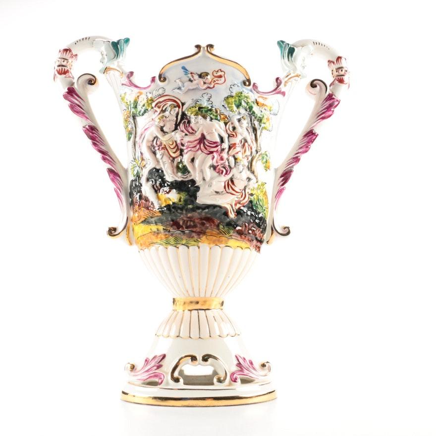 Italian Capodimonte Urn Shaped Vase Ebth
