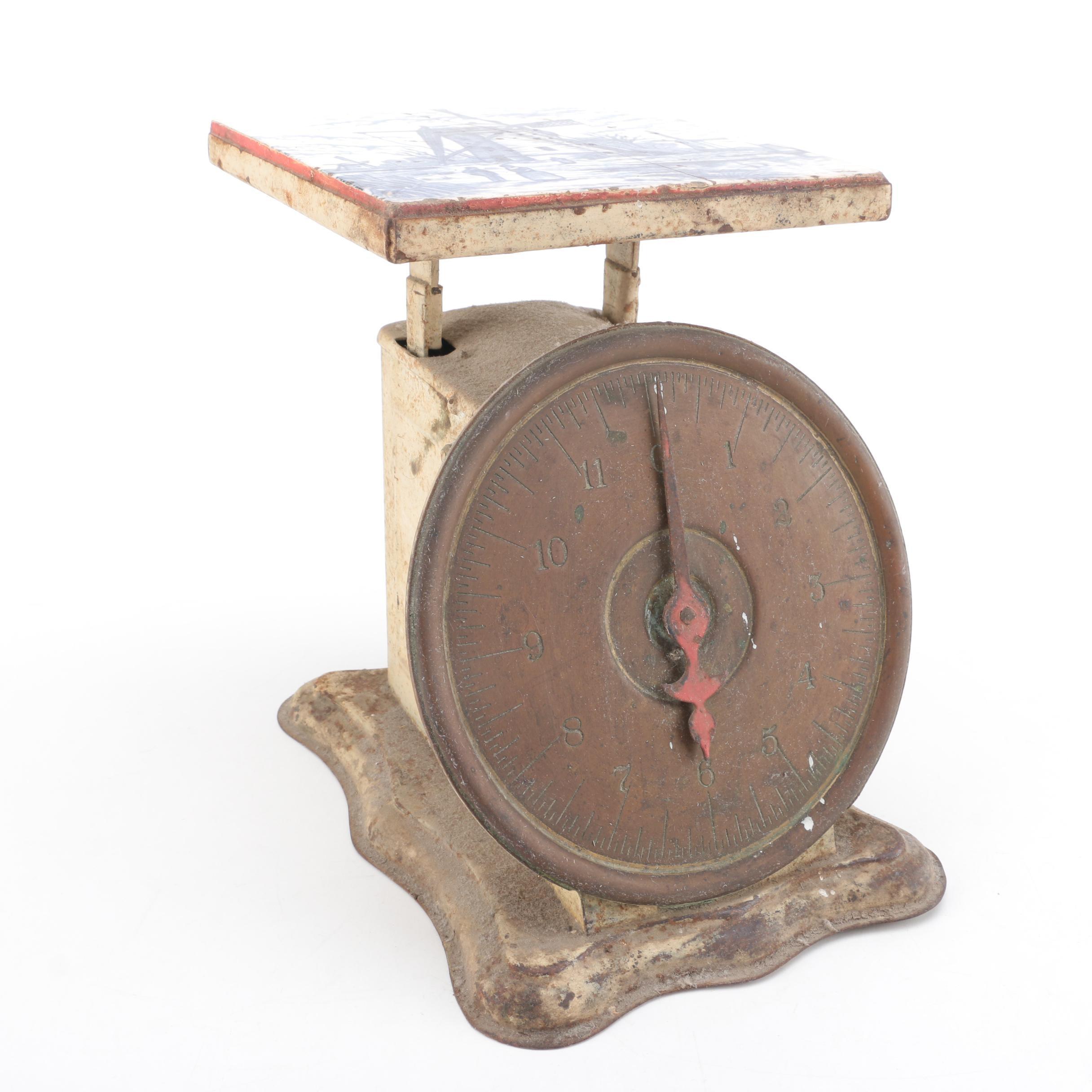 Antique Kitchen Scale With Delft Tile Top