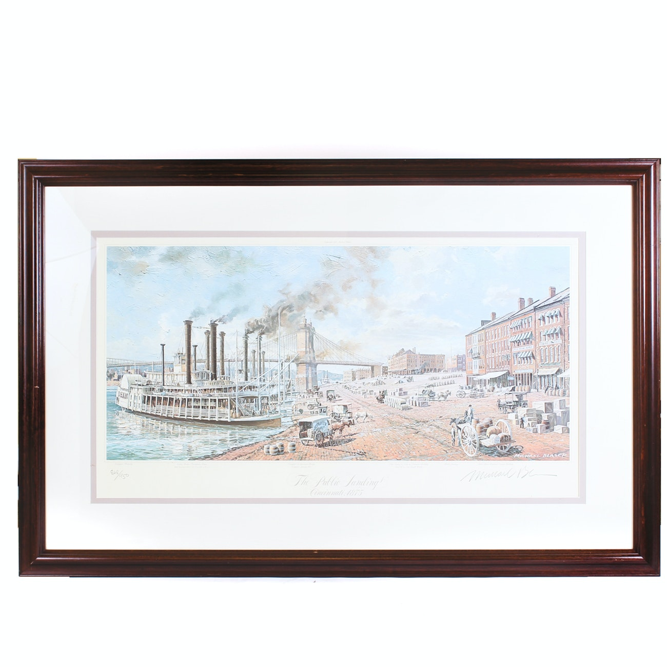 "Michael Blaser Offset Lithograph ""The Public Landing - Cincinnati 1875"""