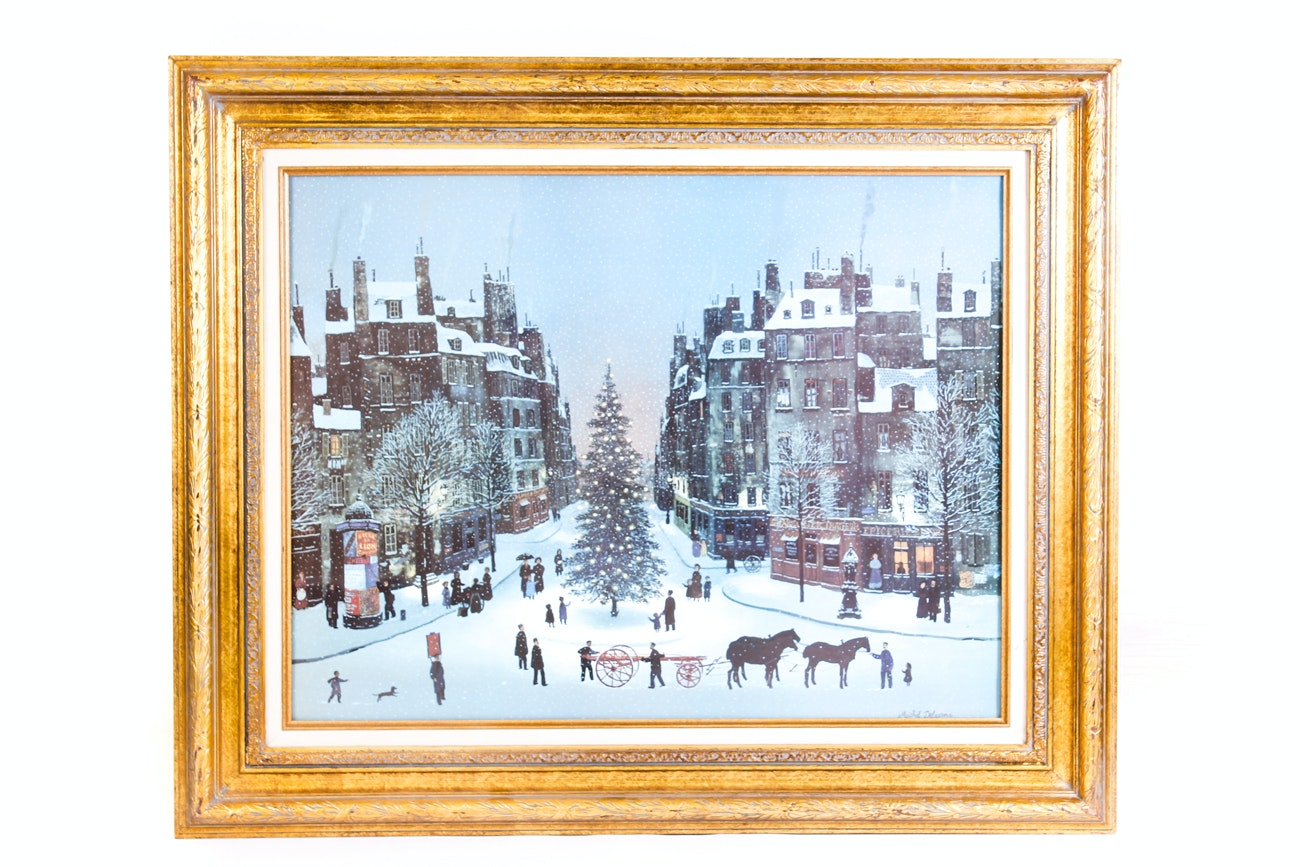 Michel Delacroix Offset Lithograph of a Snow Covered Holiday Street Scene
