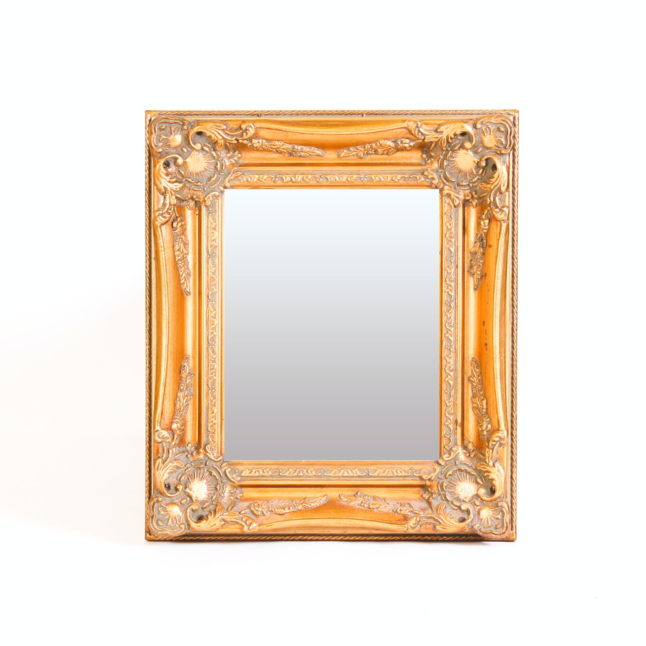 Beveled Wall Mirror with Gold-Tone Wooden Frame