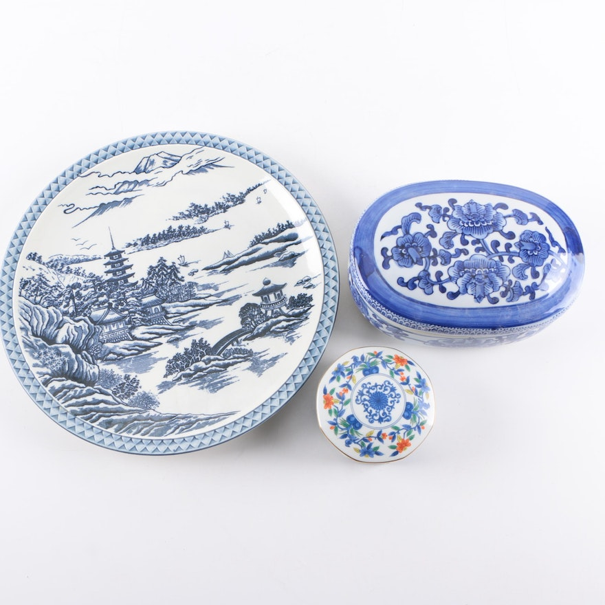Japanese Blue Willow Style Plate and Trinket Boxes Featuring Bombay ...