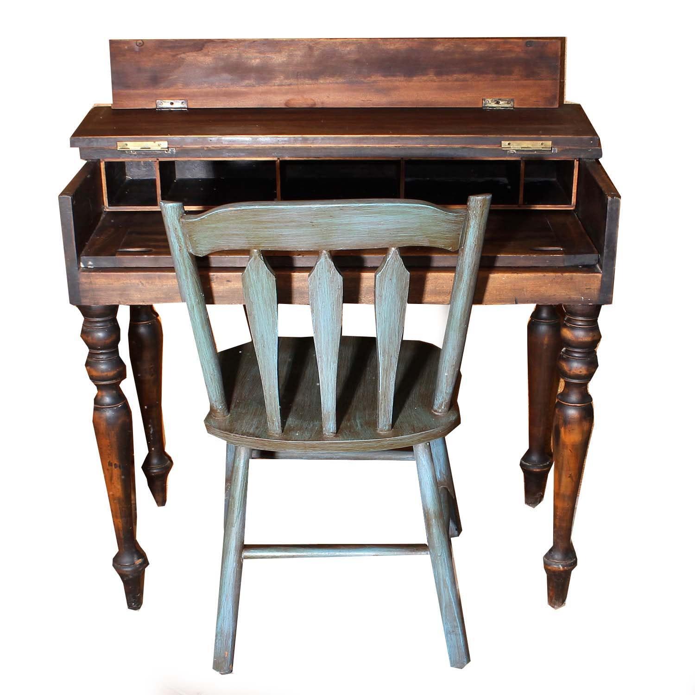 Antique Flip Desk and Chair