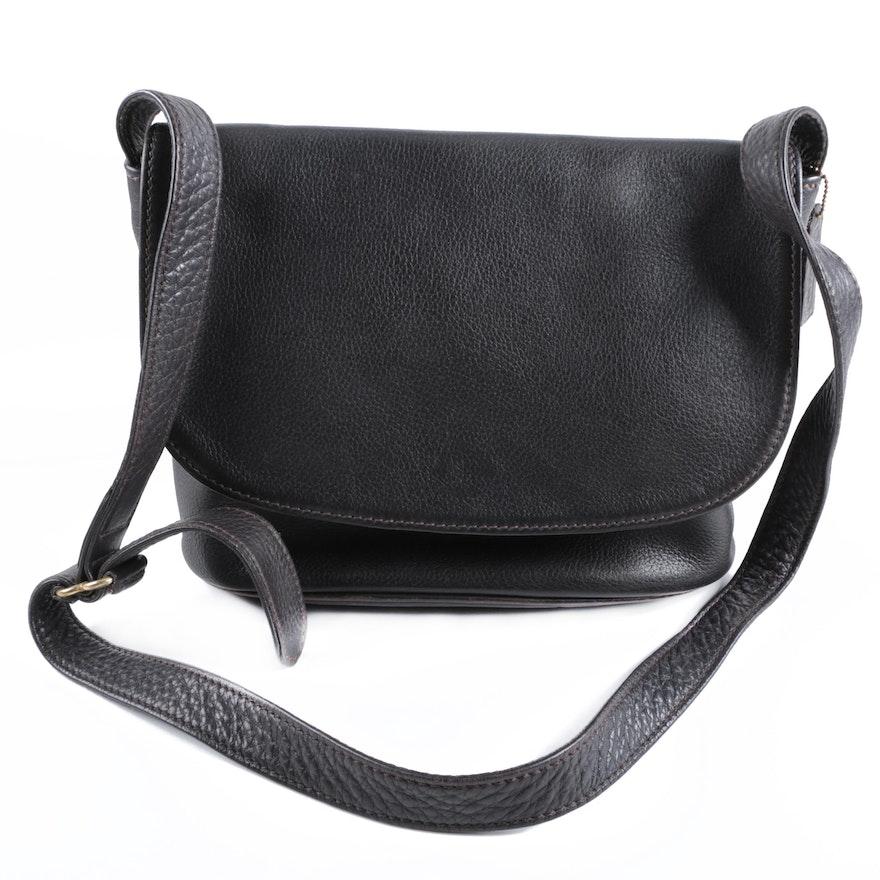 Vintage Coach 4903 Sonoma Flap Black Leather Saddle Bag Ebth