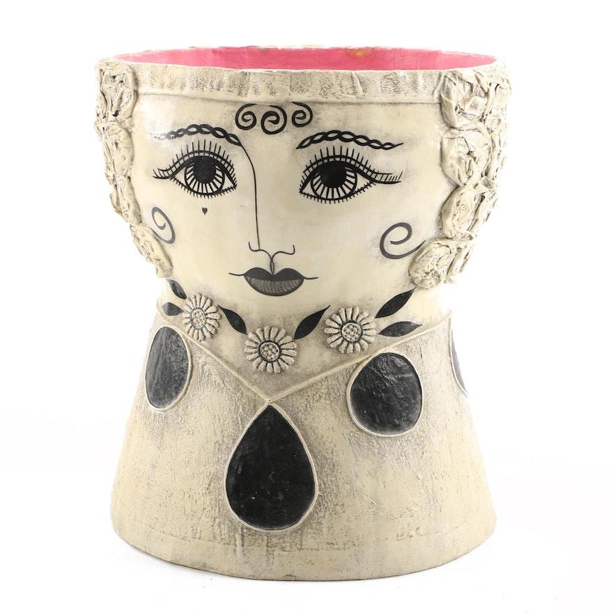 Folk Art Papier Mache Vase In The Style Of Gemma Taccogna Ebth