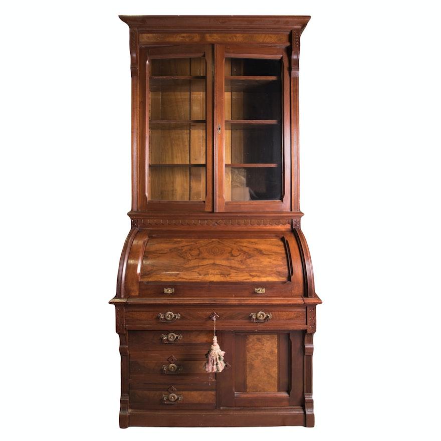 Antique Victorian Eastlake Cylinder Roll Top Secretary Desk
