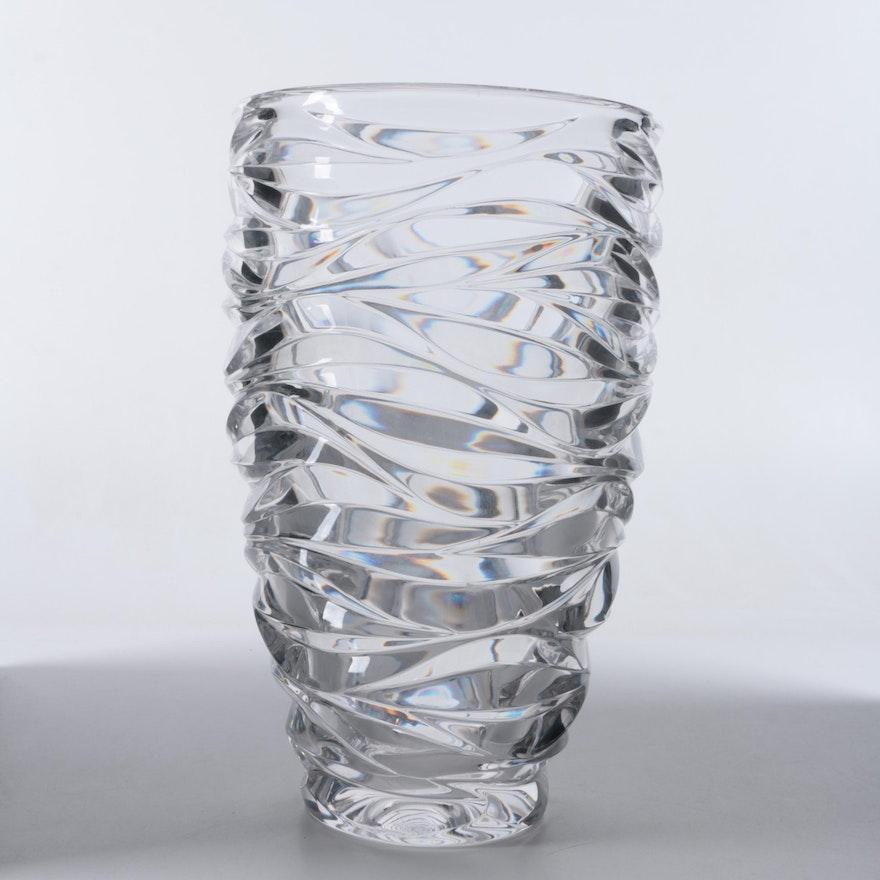 Tiffany Co Wave Cut Crystal Vase Ebth