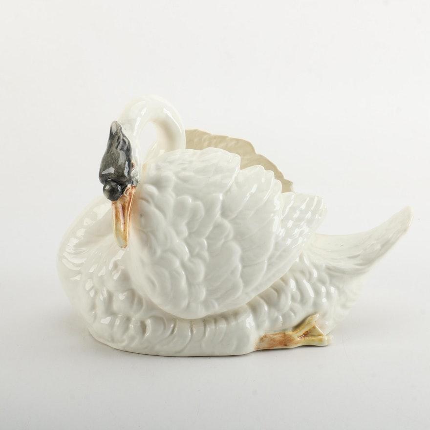 Antique Royal Dux Porcelain Swan Vase Ebth