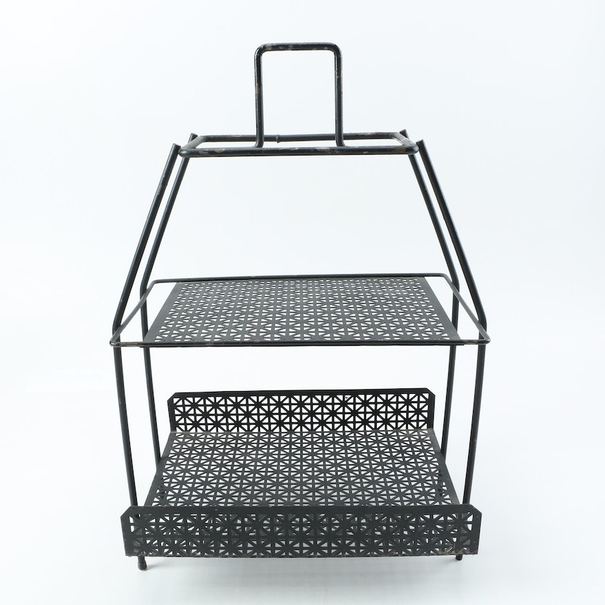 Vintage Mid Century Modern Two Tier Metal Wire Plant Stand : EBTH