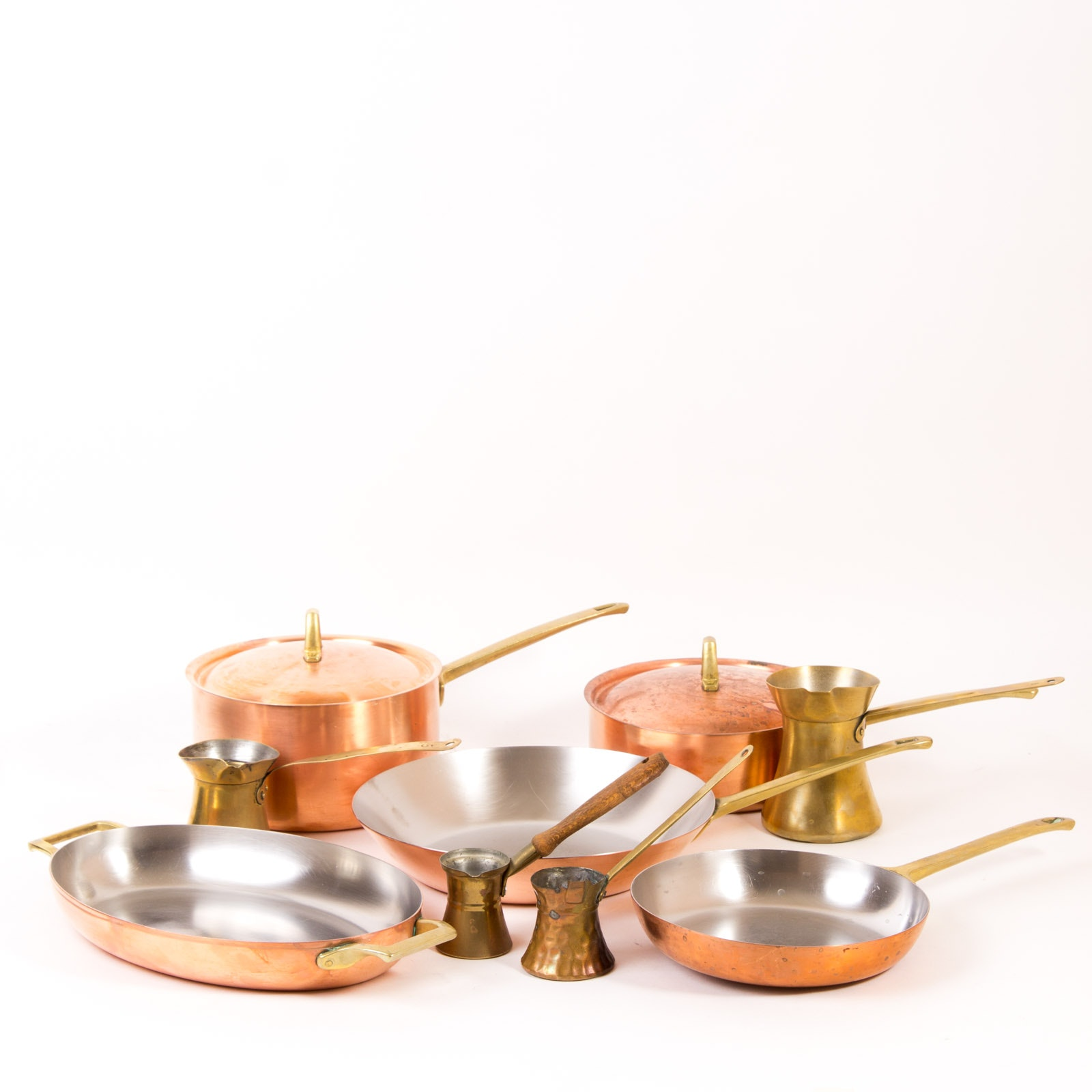 Assortment of Vintage Copper Cookware Including Paul Revere