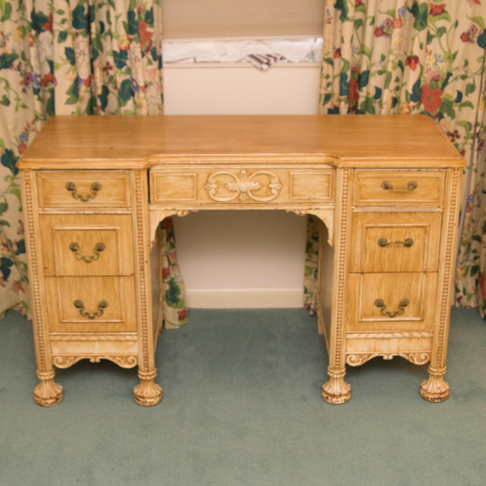 Vintage Light Blonde Coloured Wooden Desk