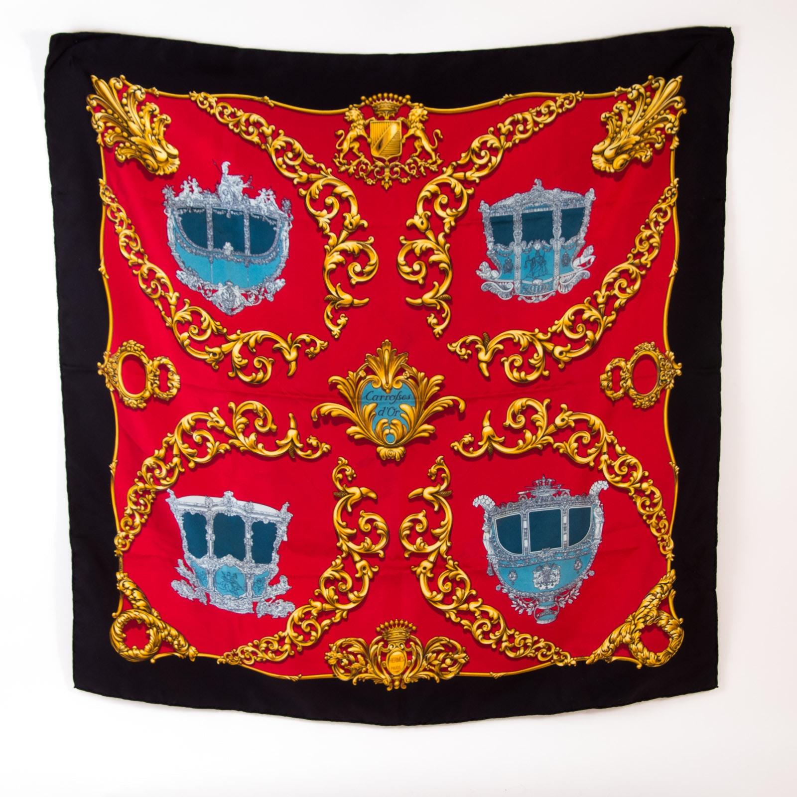 """Vintage Hermès of Paris """"Carrolses d'Or"""" Silk Scarf"""