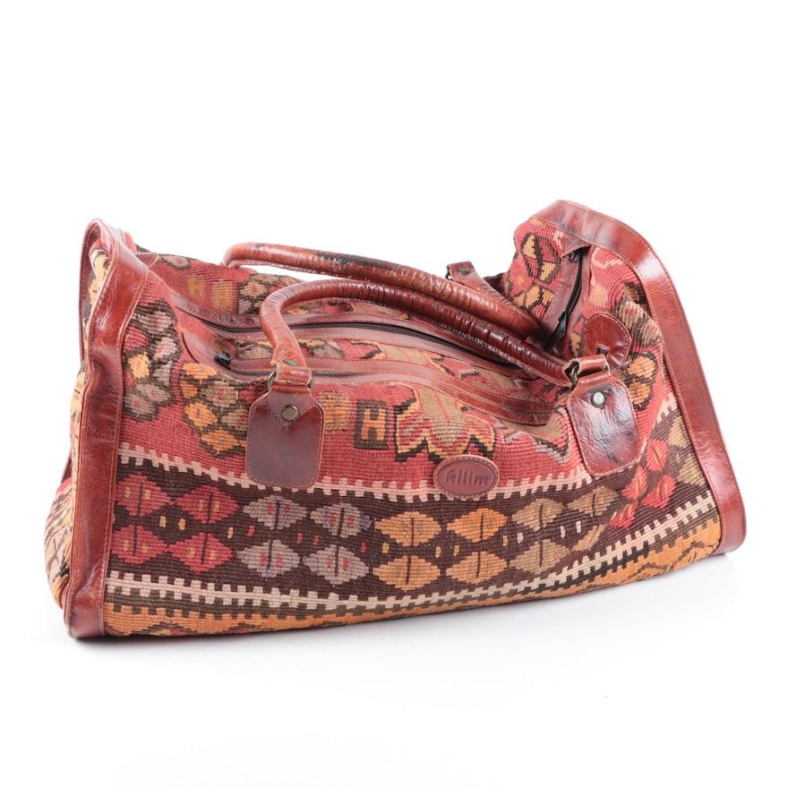 Turkish Kilim Wool and Leather Duffel Bag   EBTH 4a6b8a5599fd0
