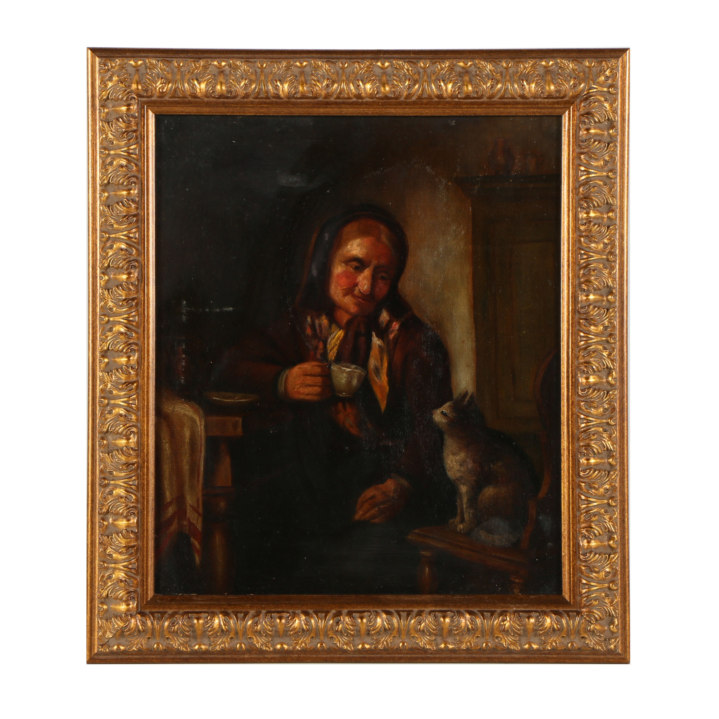 Late 19th Century Oil Painting of Genre Scene