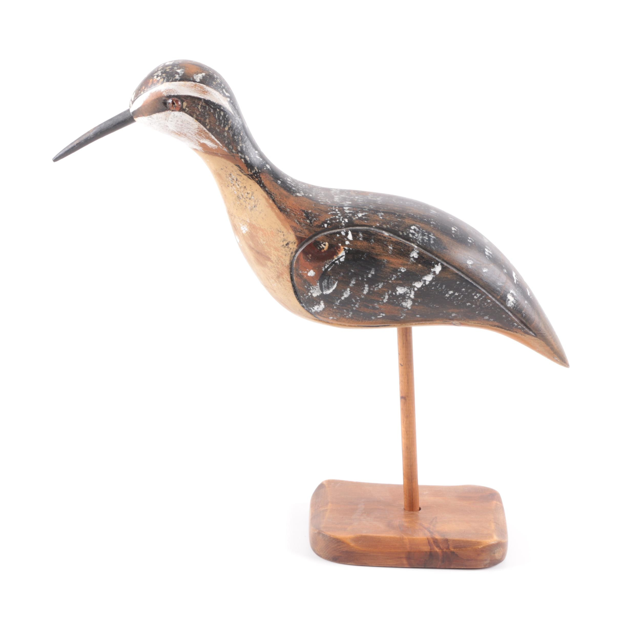 Signed Wooden Bird Figurine on Stand by J.A.C.