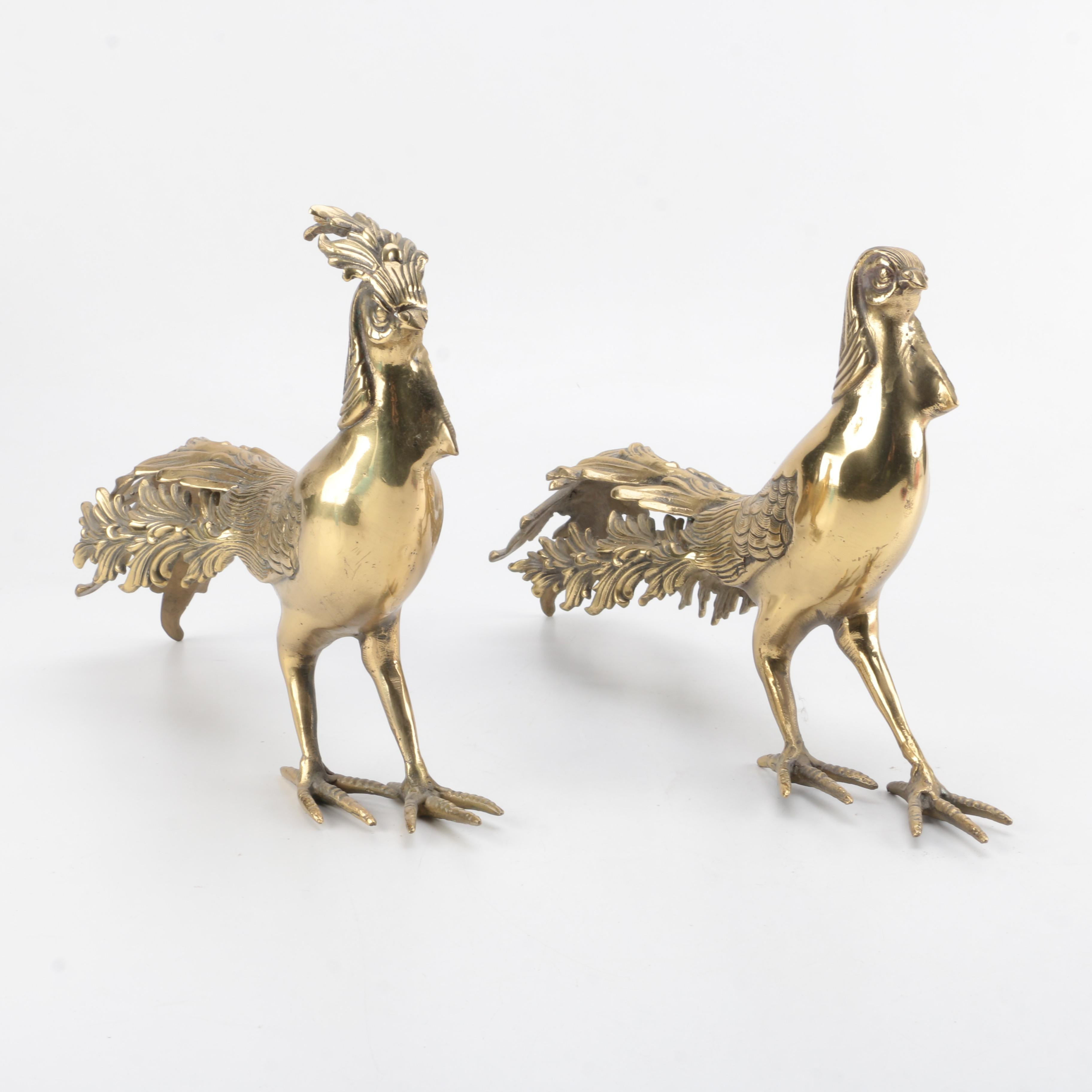 Brass Rooster and Hen Figurines