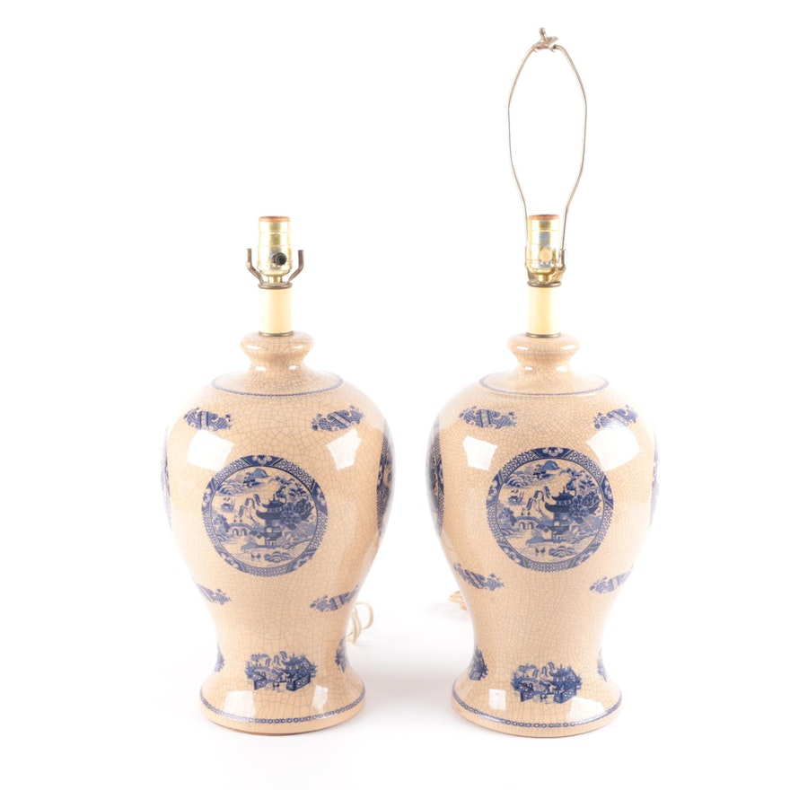 Vintage Blue Willow Ceramic Table Lamps