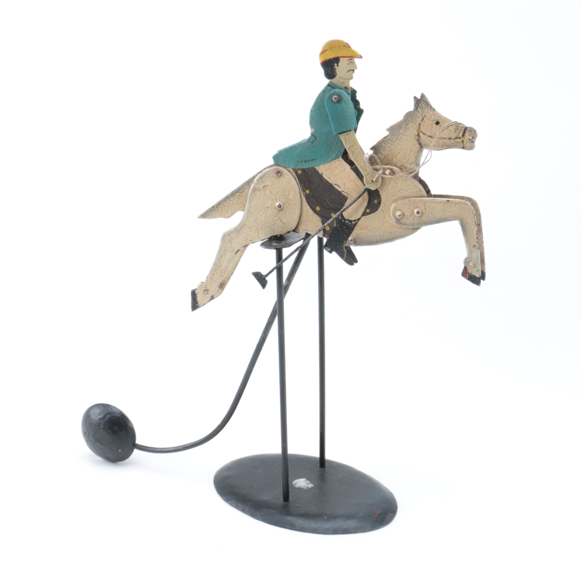 Peg Horse And Polo Rider Balance Sculpture And Stand