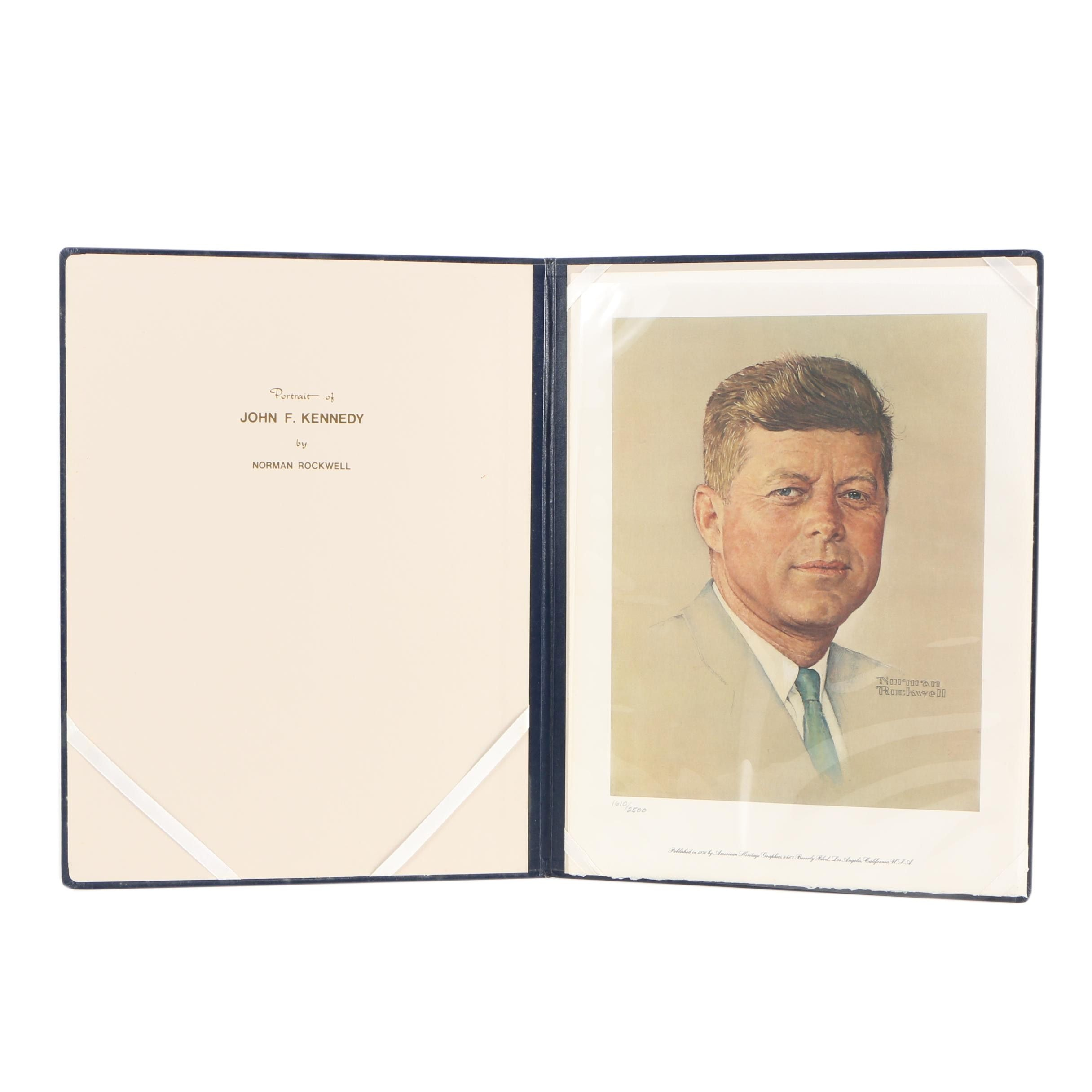 "Limited Edition Offset Lithograph After Norman Rockwell's ""John F. Kennedy"""