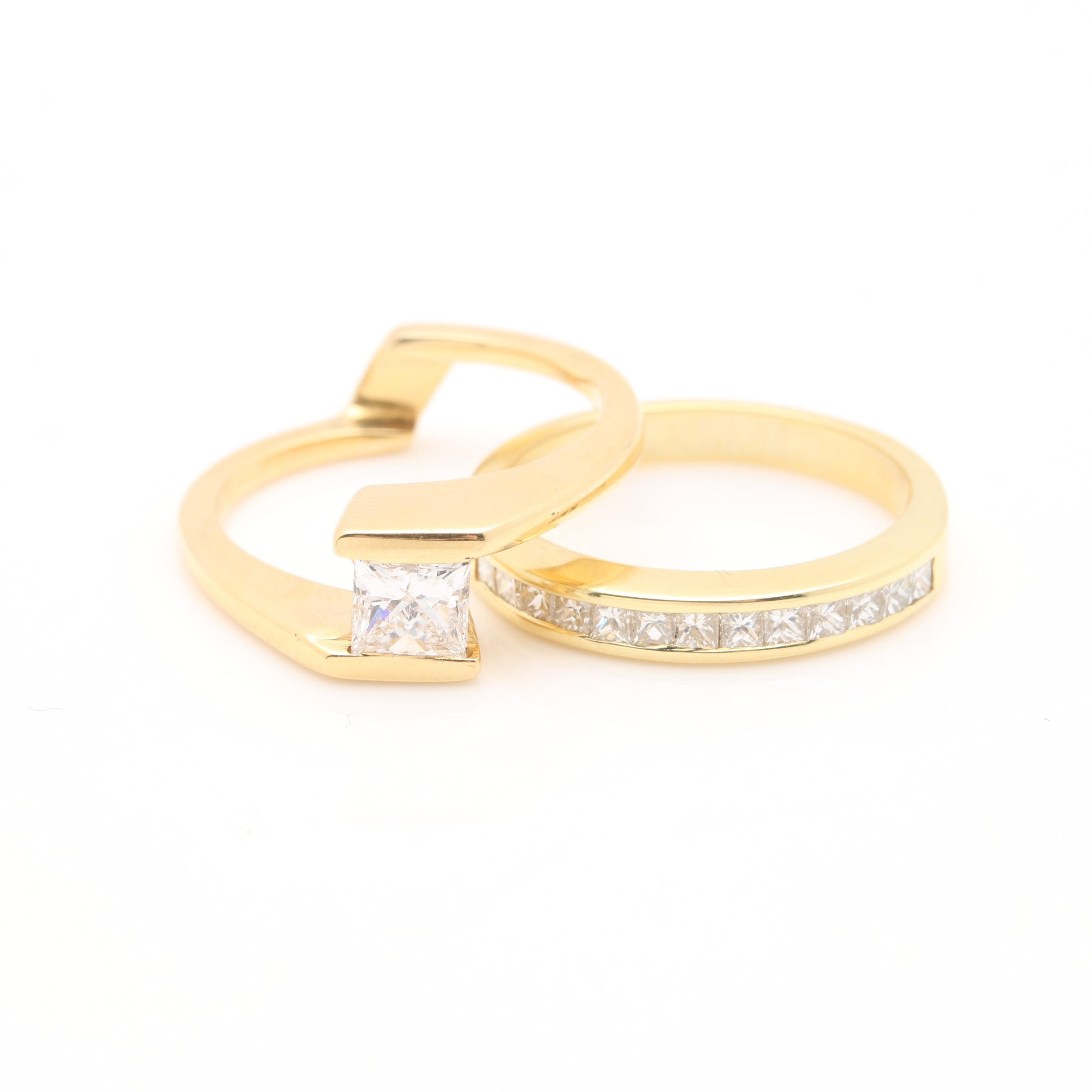 18K Yellow Gold Diamond Ring Set