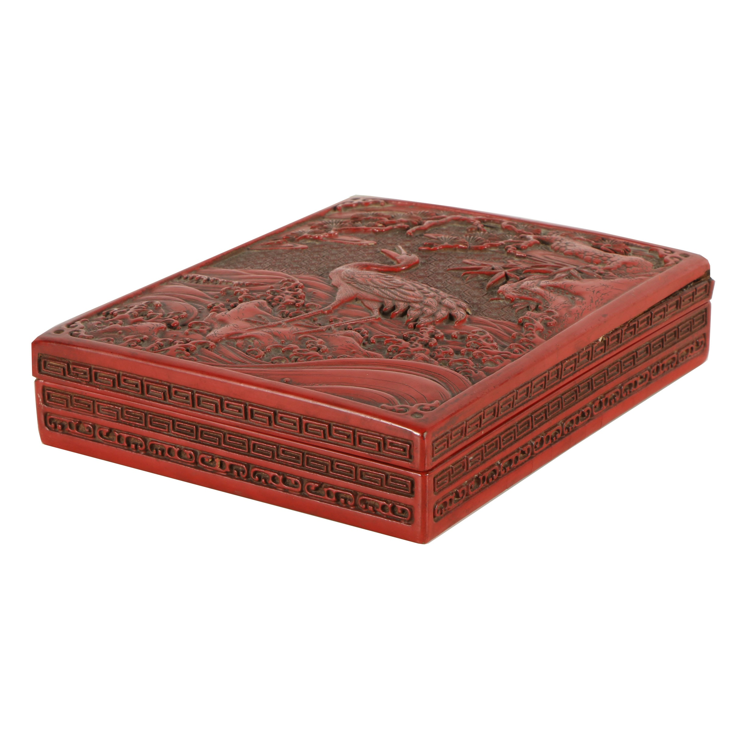 Japanese Red Lacquer Writing Box