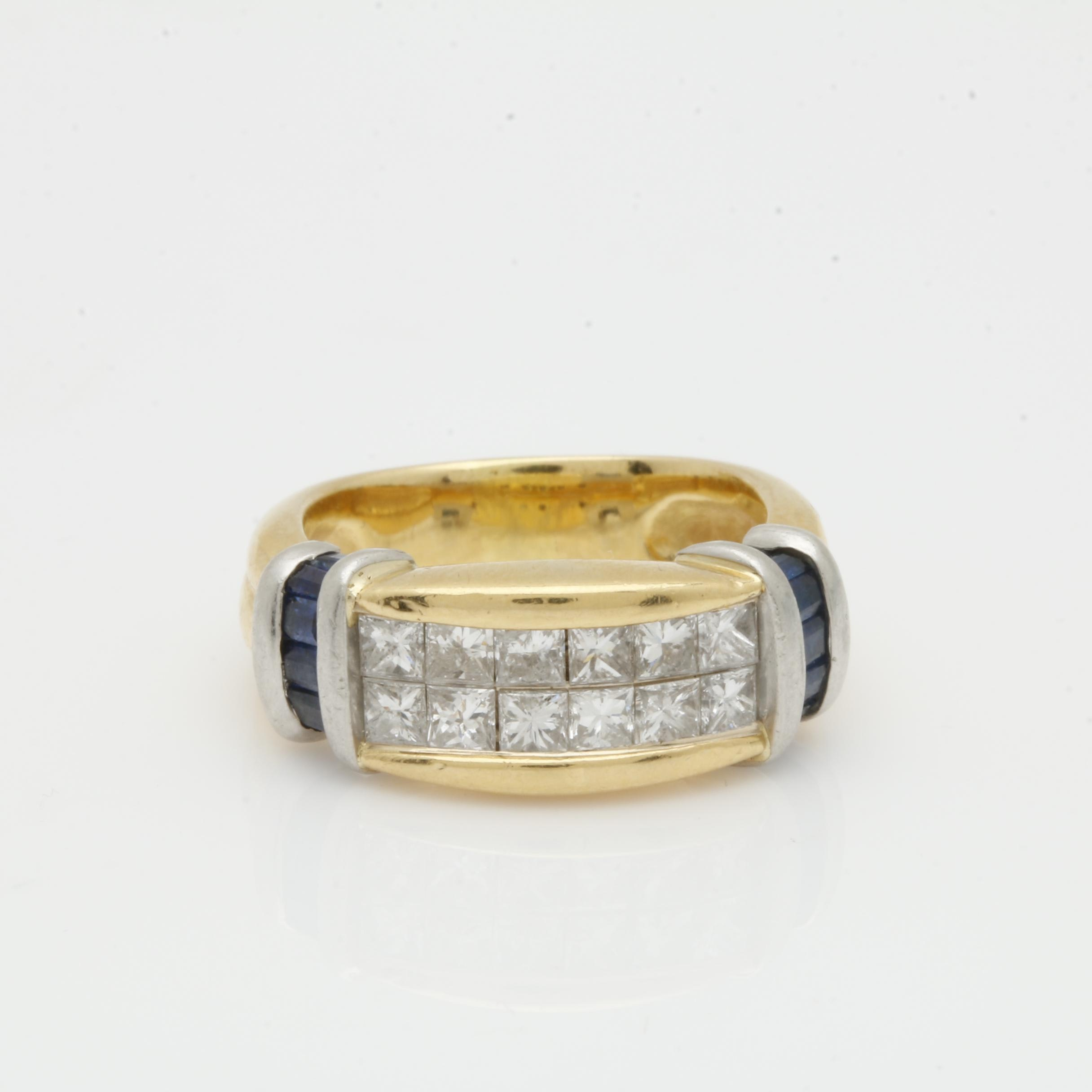 18K Yellow Gold and Platinum Diamond Ring with Sapphire Accents