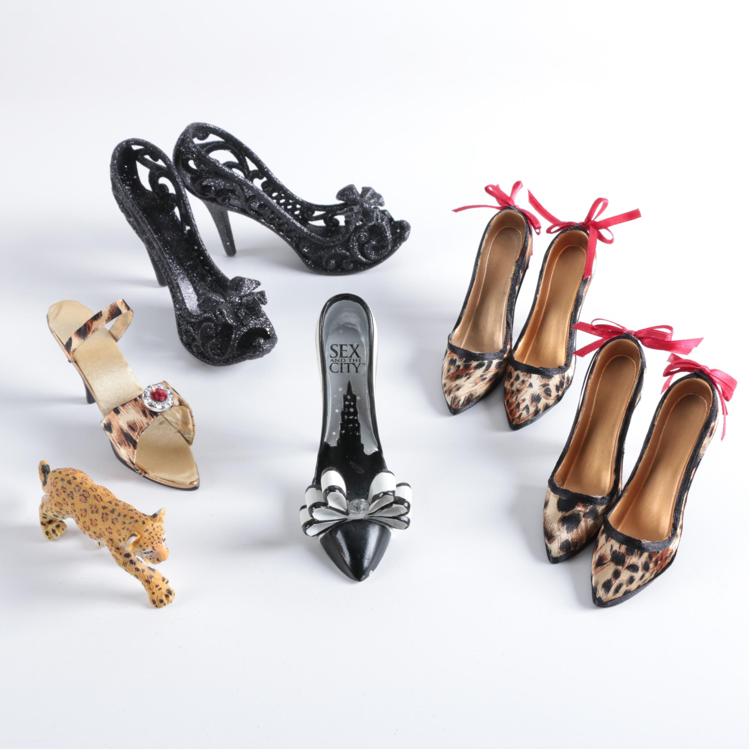 """Miniature Shoes Including """"Sex And The City"""" Ornament and Leopard Figurine"""