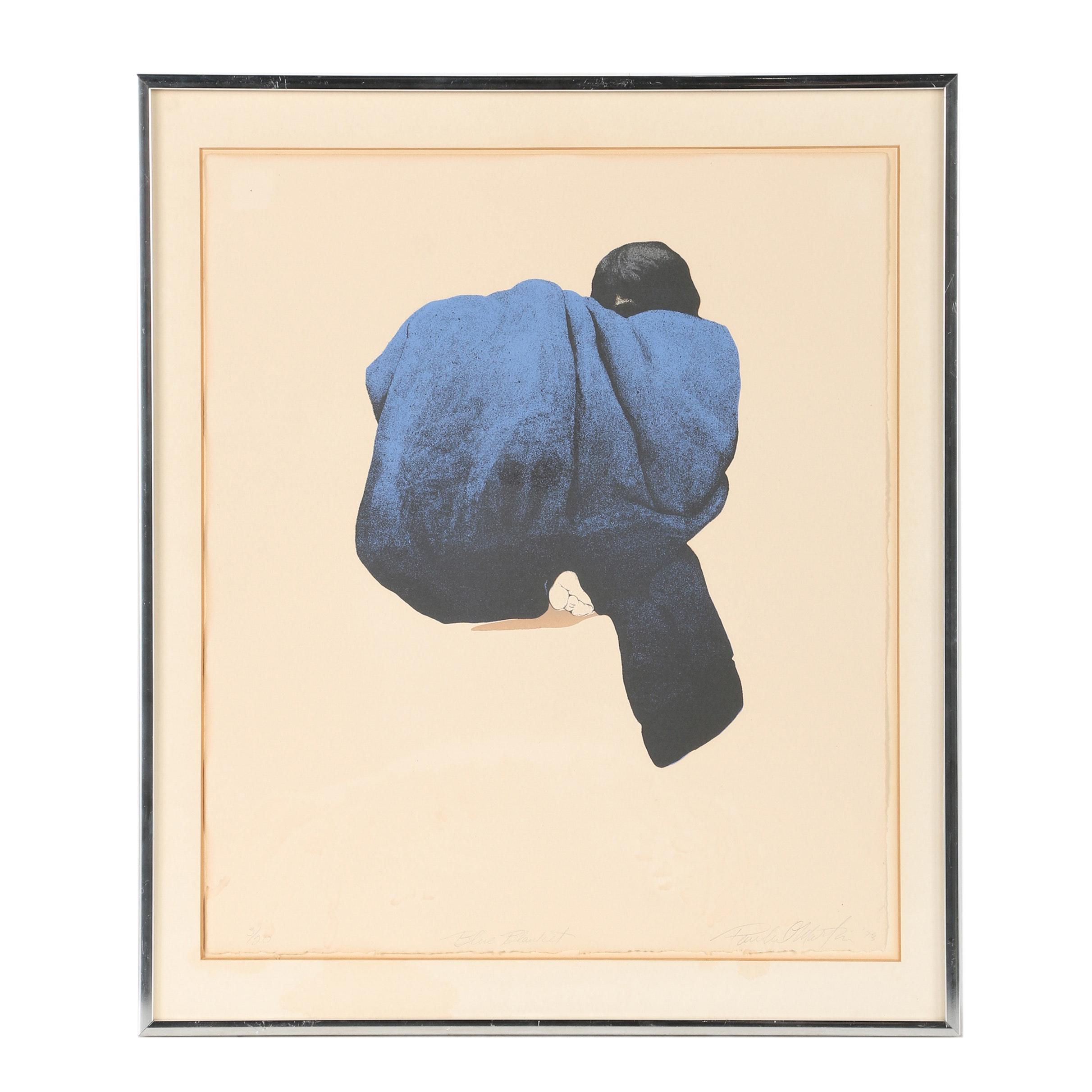 "Paula Martin Lithograph ""Blue Blanket"""