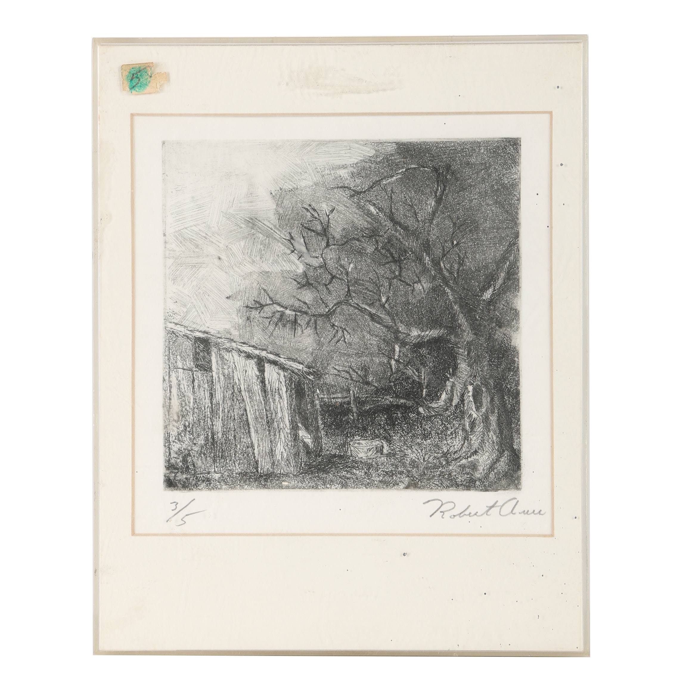 20th Century Etching of Rural Landscape