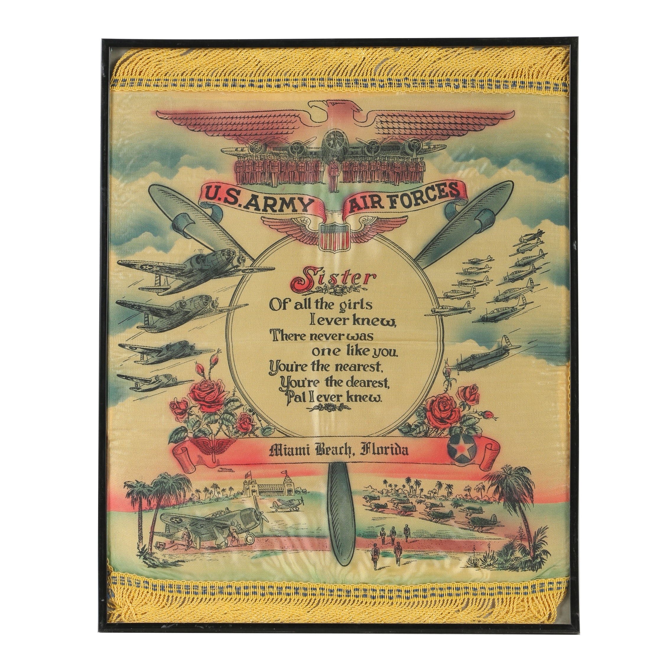"Mid 20th Century U.S. Military ""Sister Sweetheart"" Pillow Sham"