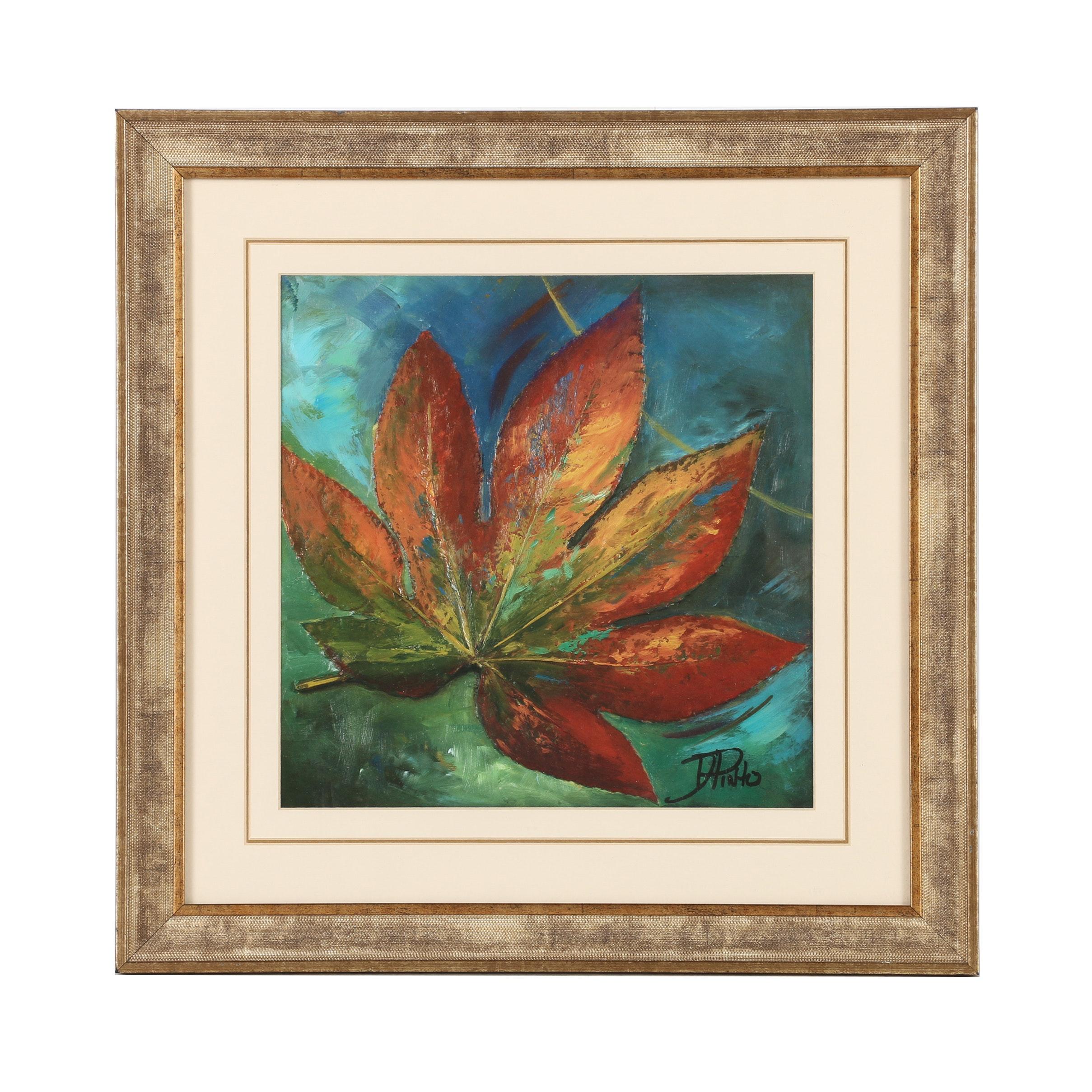 "Patricia Pinto Offset Lithograph ""Blue Leaf I"""