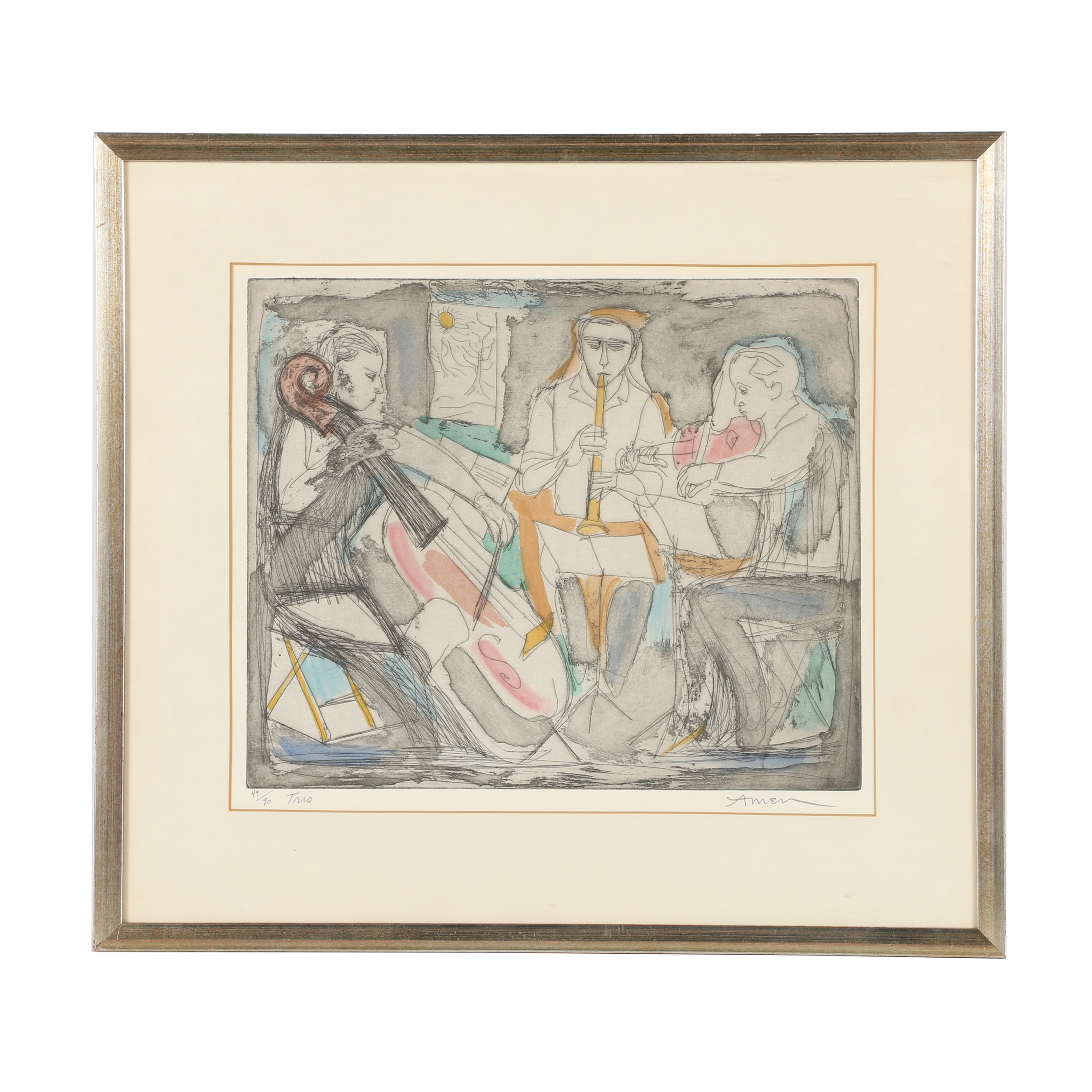 """Irving Amen Hand-Colored Etching """"Trio"""""""
