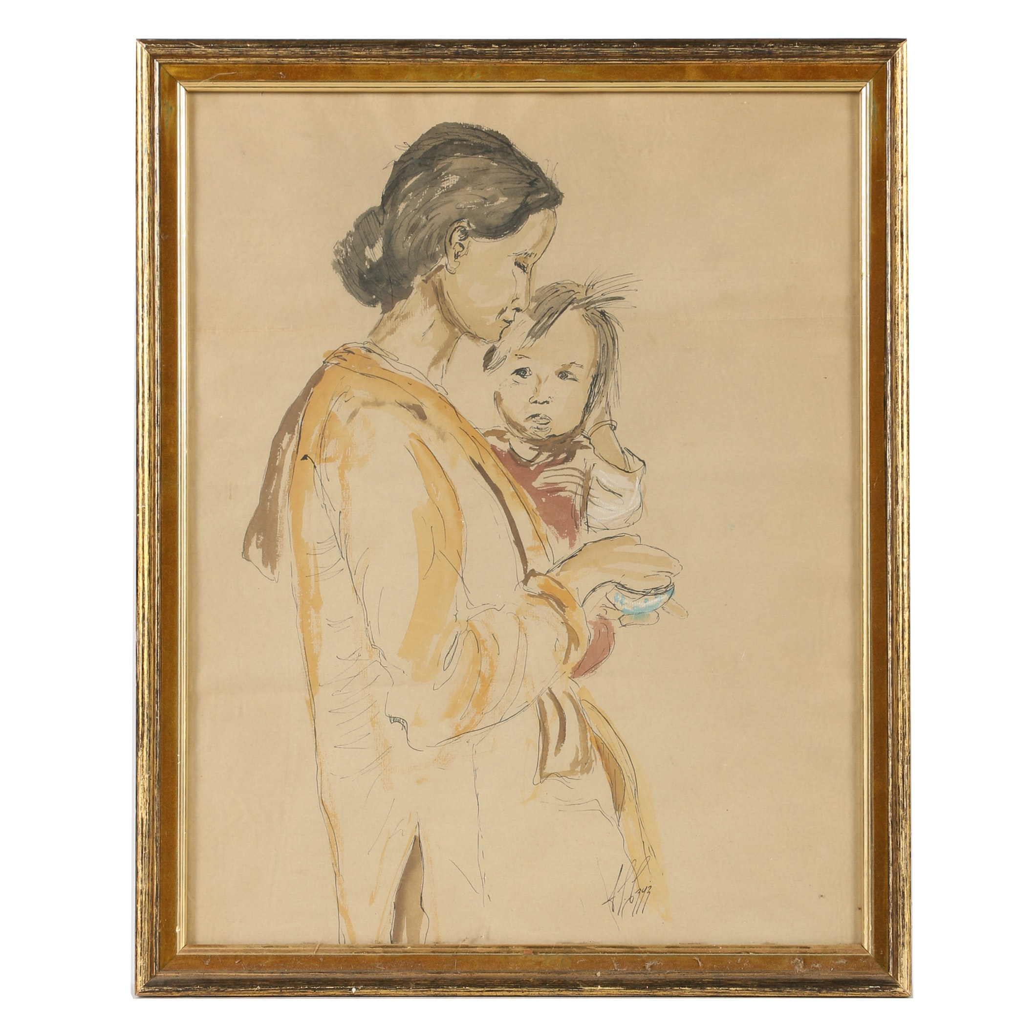 Watercolor of a Mother and Child