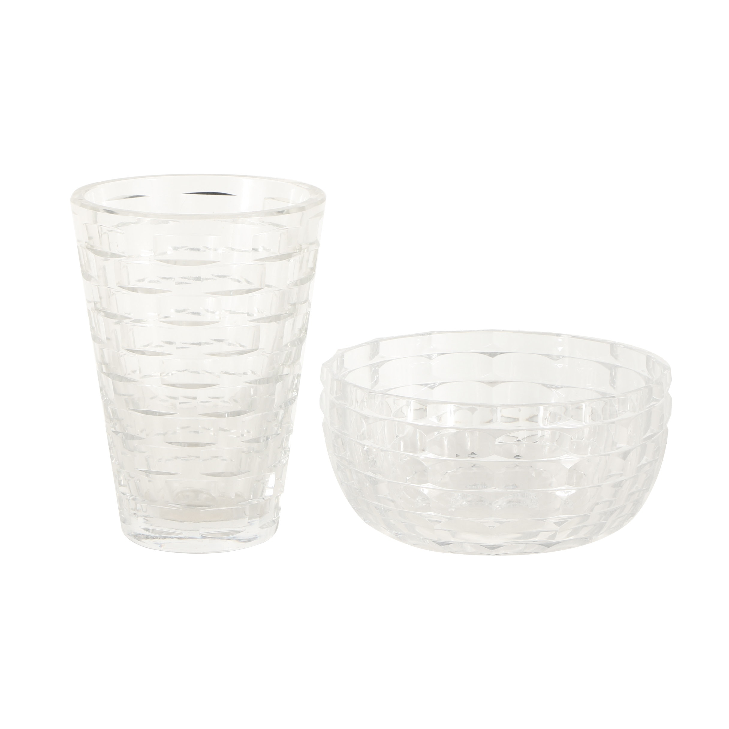 Glass Vase and Bowl Basket Weave Design