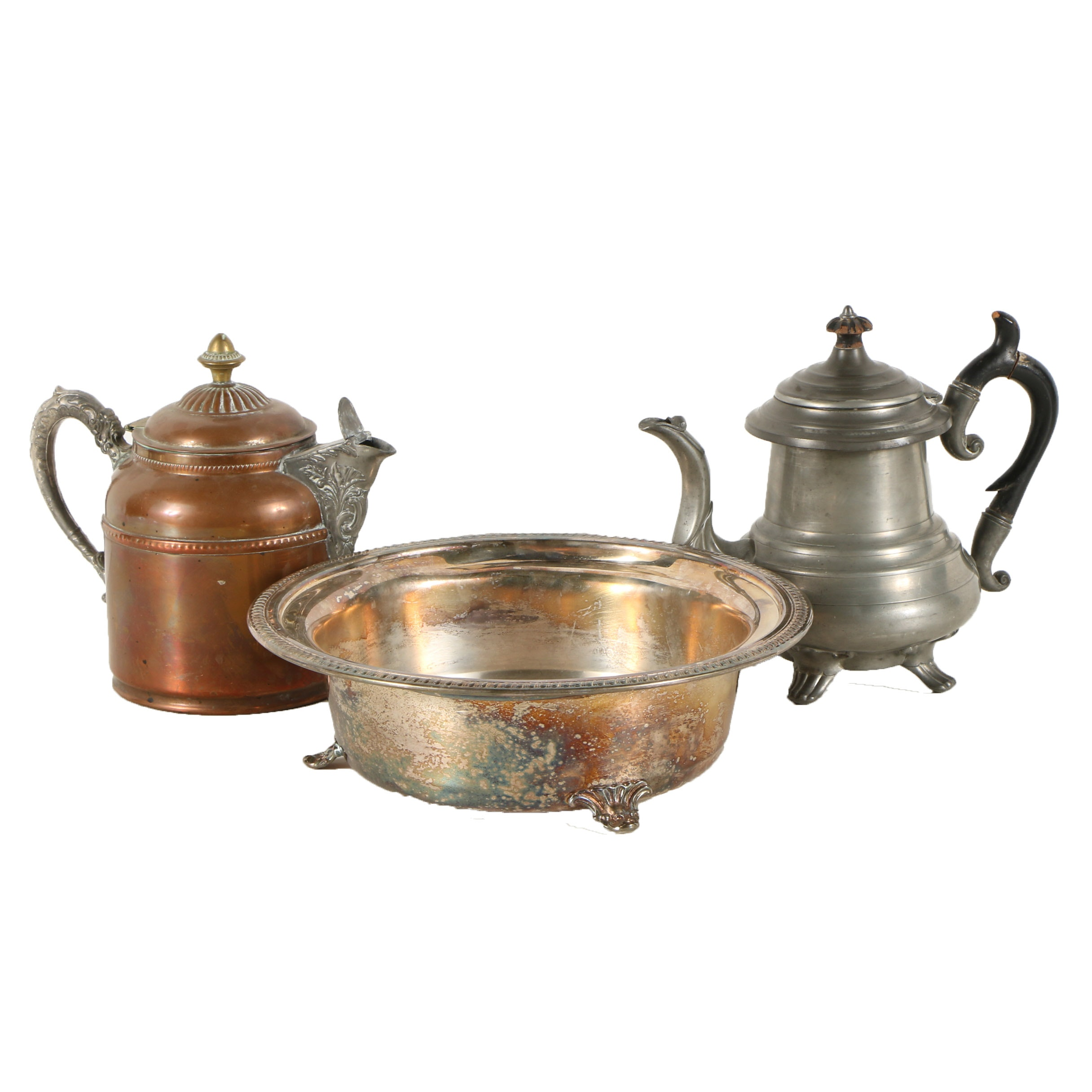 Copper and Pewter Pitchers and Metal Basin