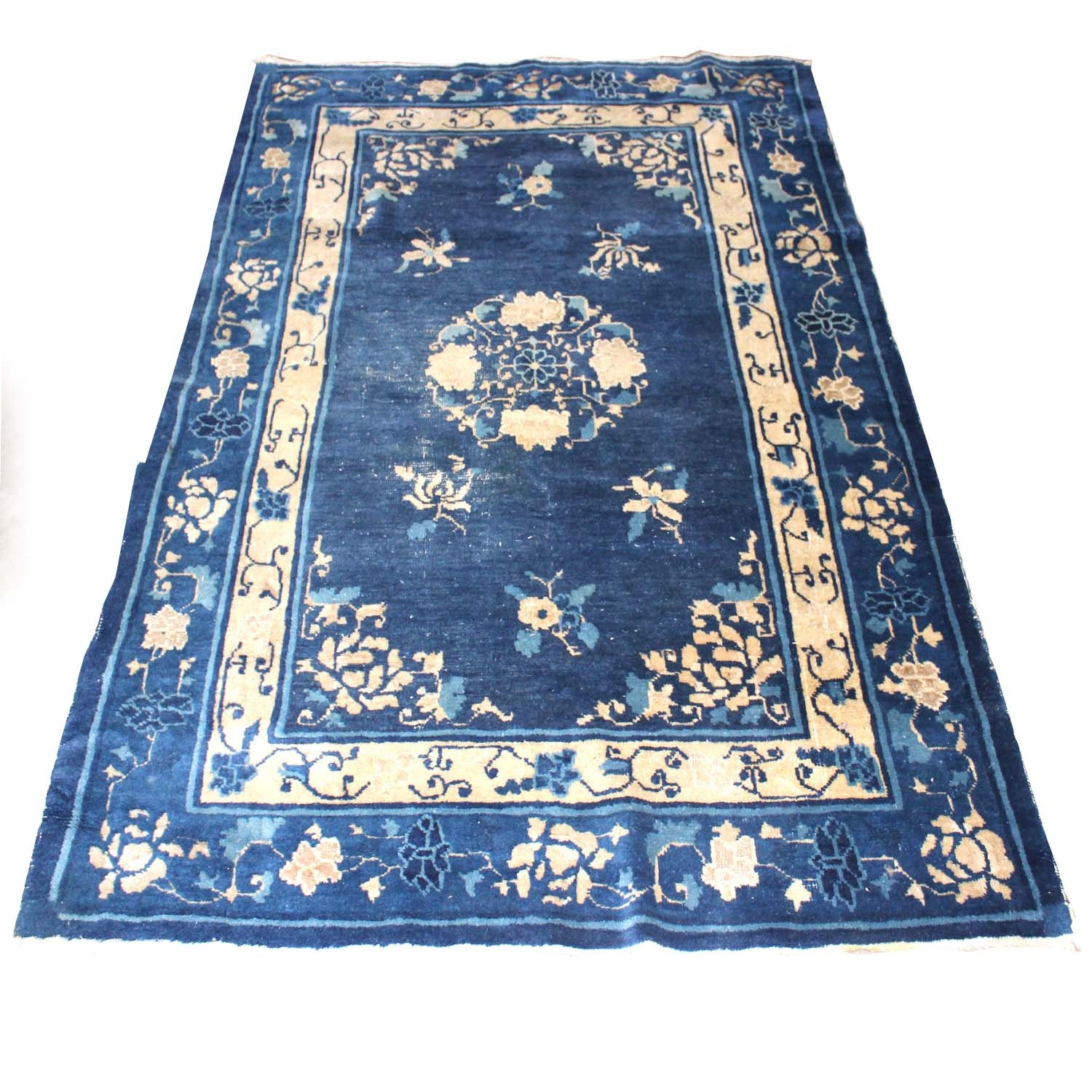 Semi-Antique Hand-Knotted Chinese Pictorial Area Rug