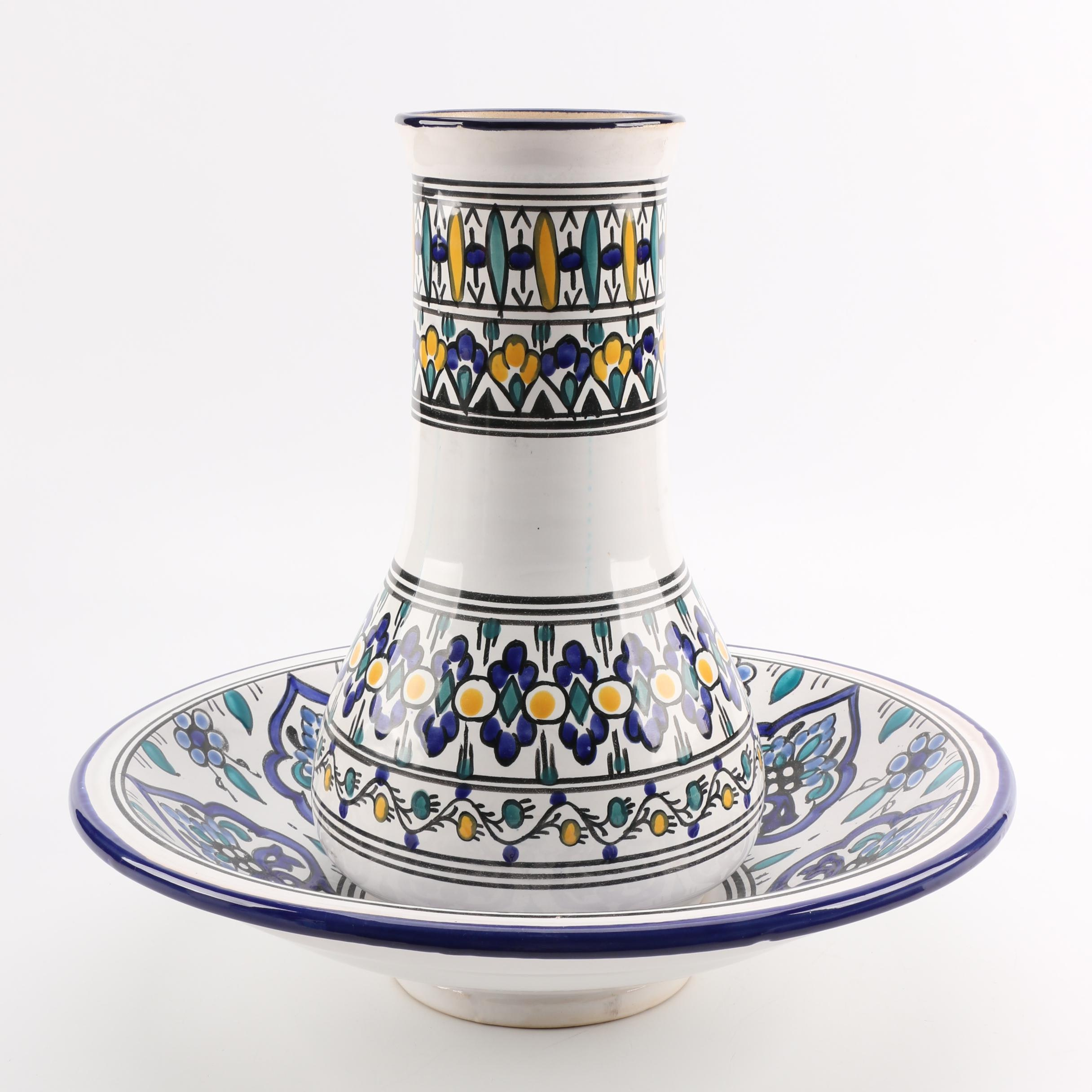 Tunisian Hand-Painted Ceramic Vase and Bowl