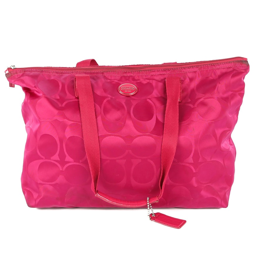 a381bdc20f4 Coach Signature Nylon Tote in Raspberry   EBTH