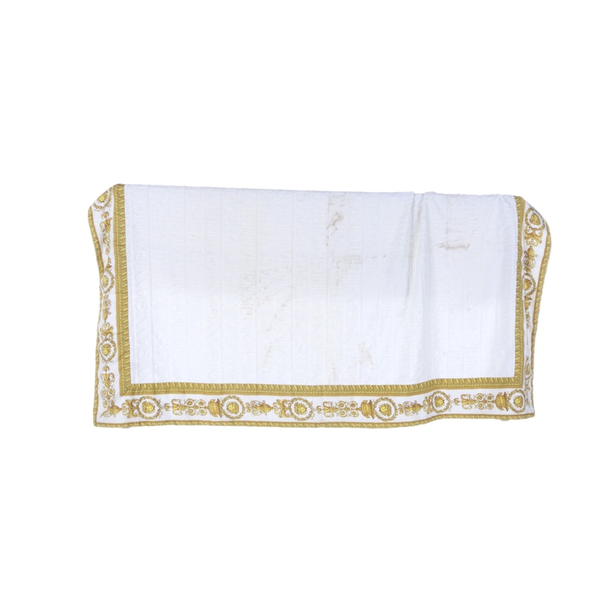 Versace White and Gold Beach Towel
