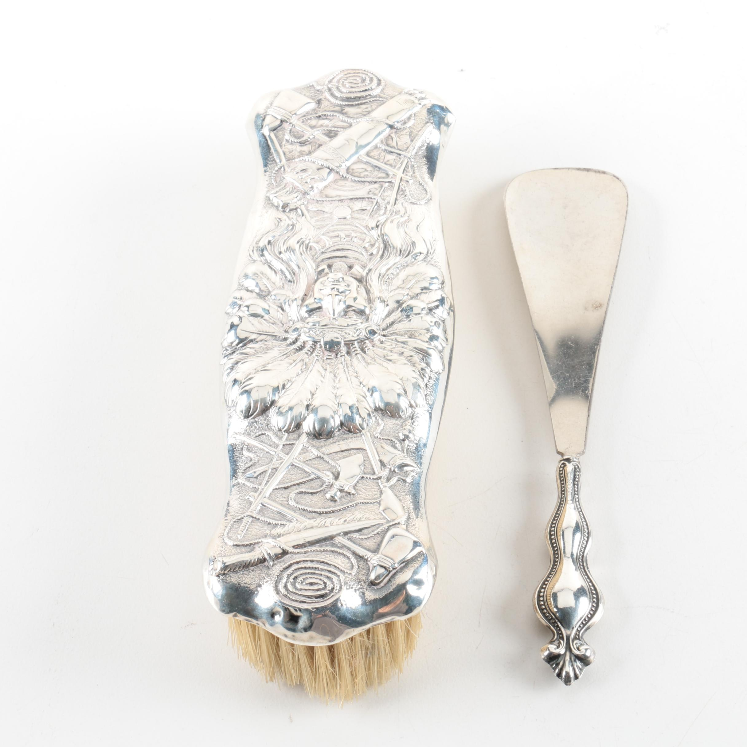 Unger Brothers Native American Motif Sterling Clothes Brush with Shoehorn