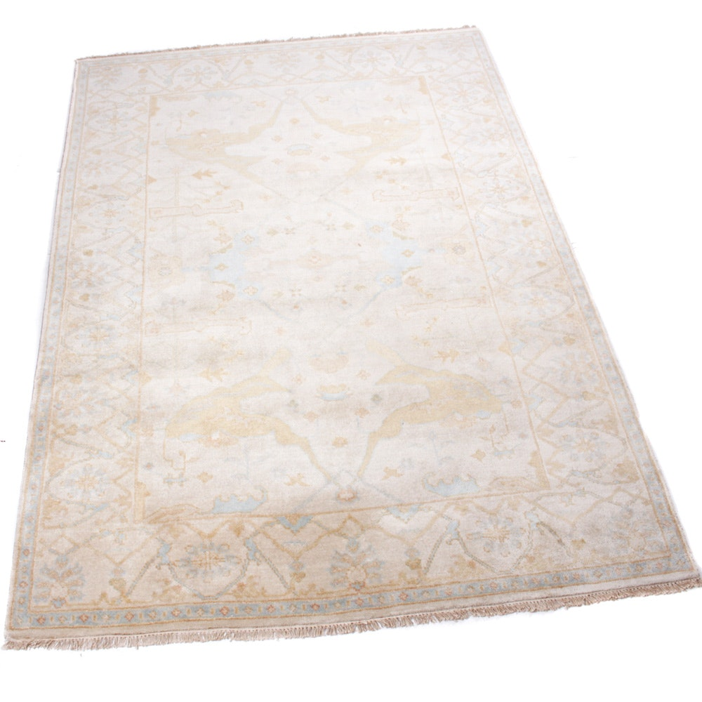 6' x 9' Hand-Knotted Indo-Turkish Oushak Rug