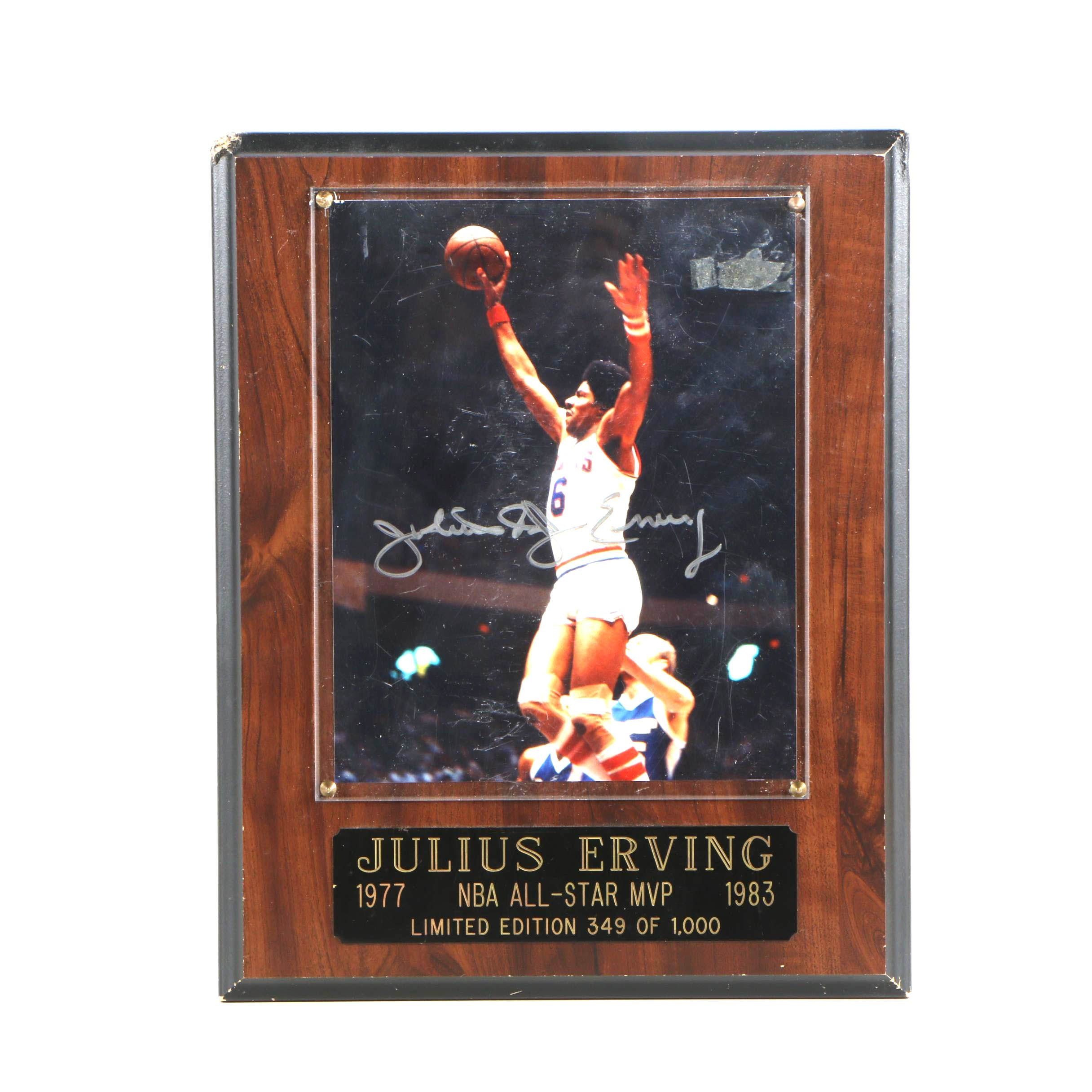 Julius Erving Autographed Display