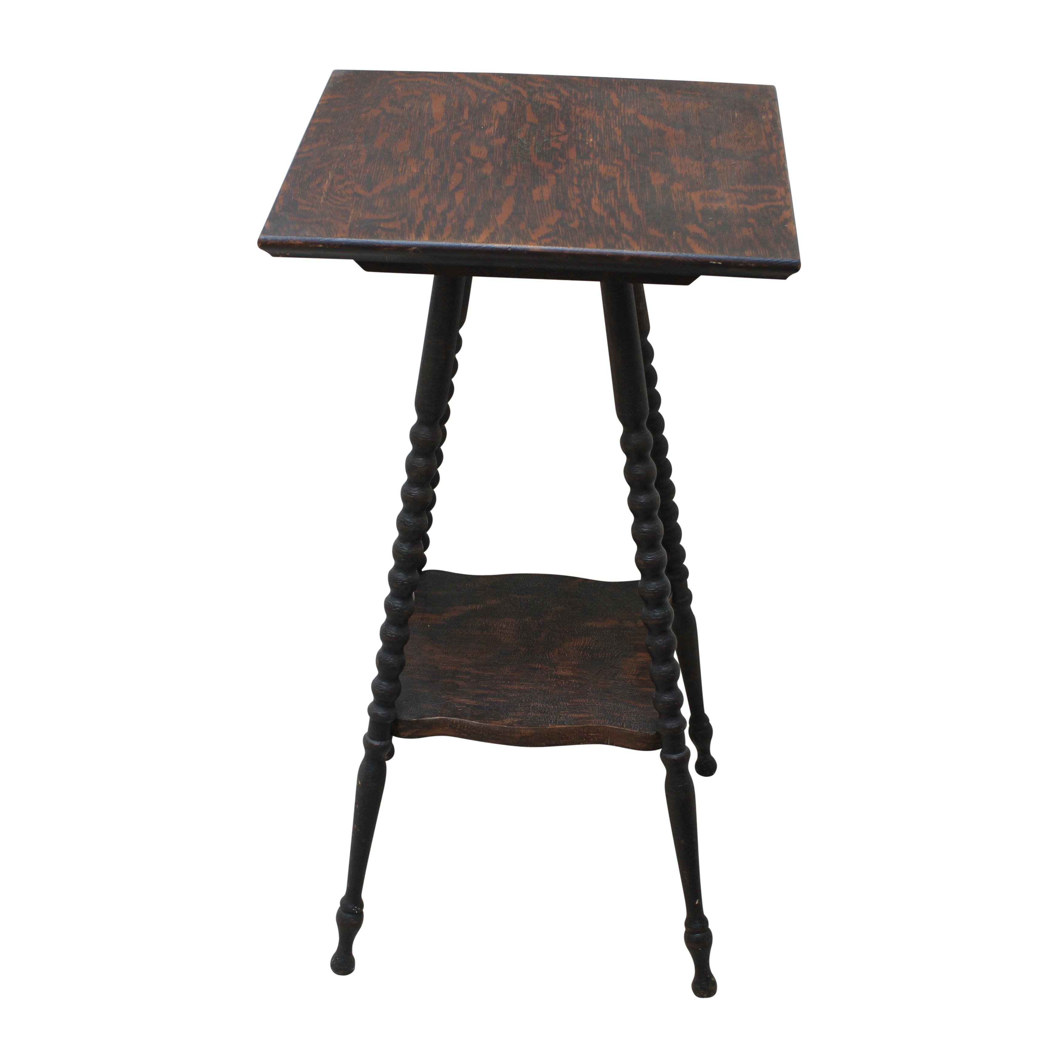 Antique Oak Square End Table