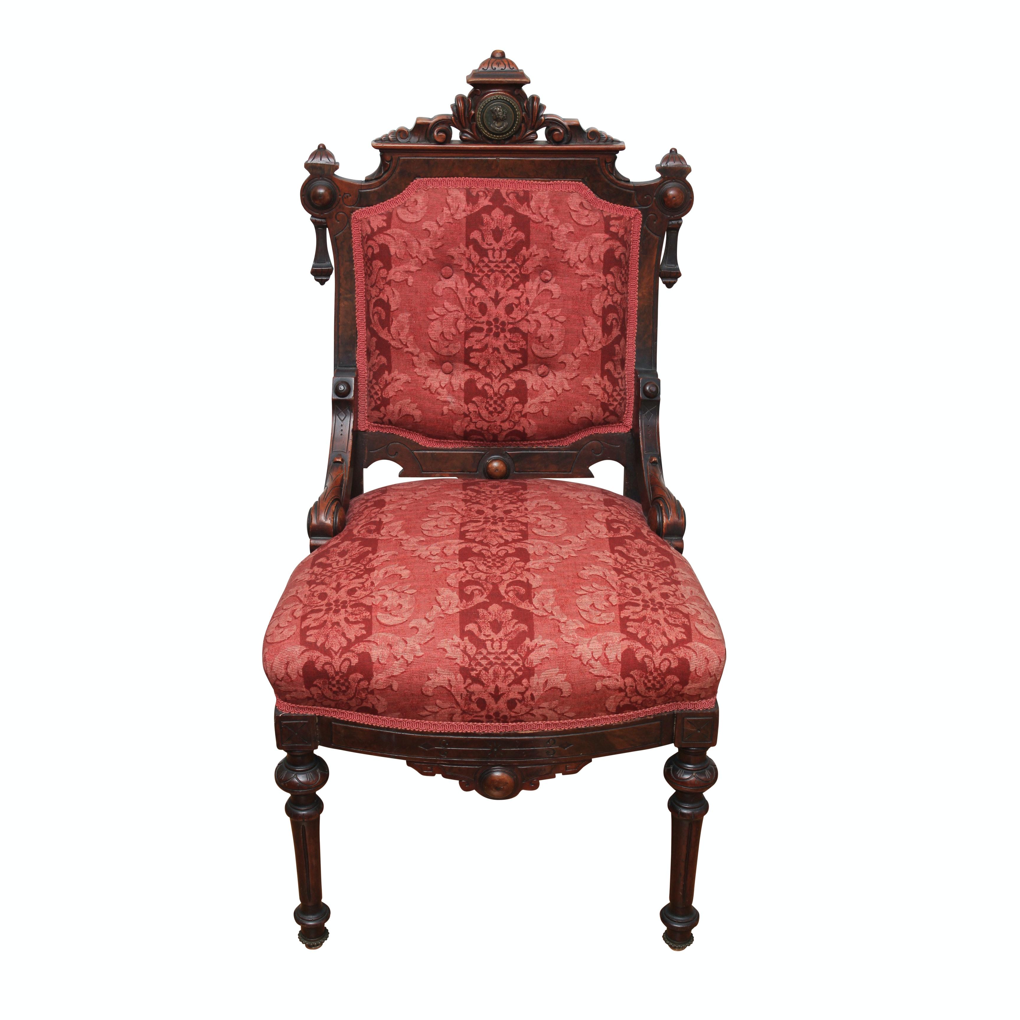 Renaissance-Revival Side Chair with Bronze Portrait Medallion