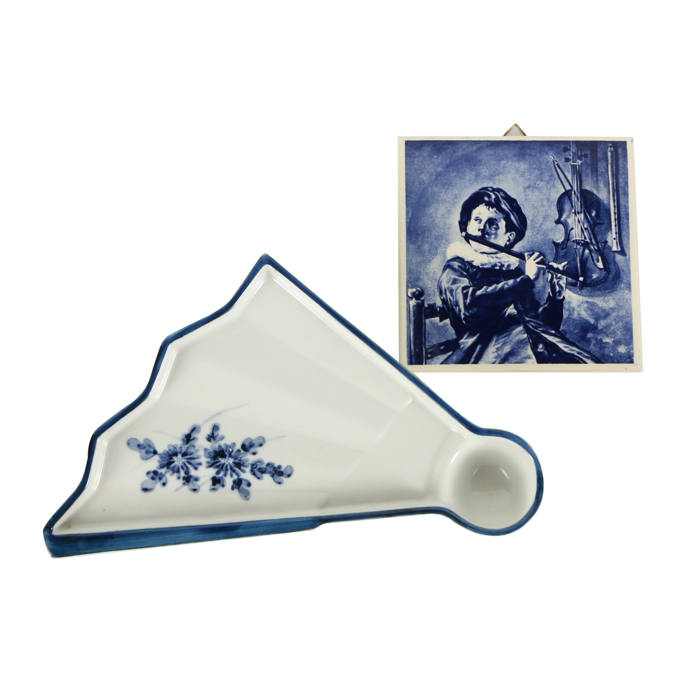 Japanese Porcelain Dish and Dutch Ceramic Tile
