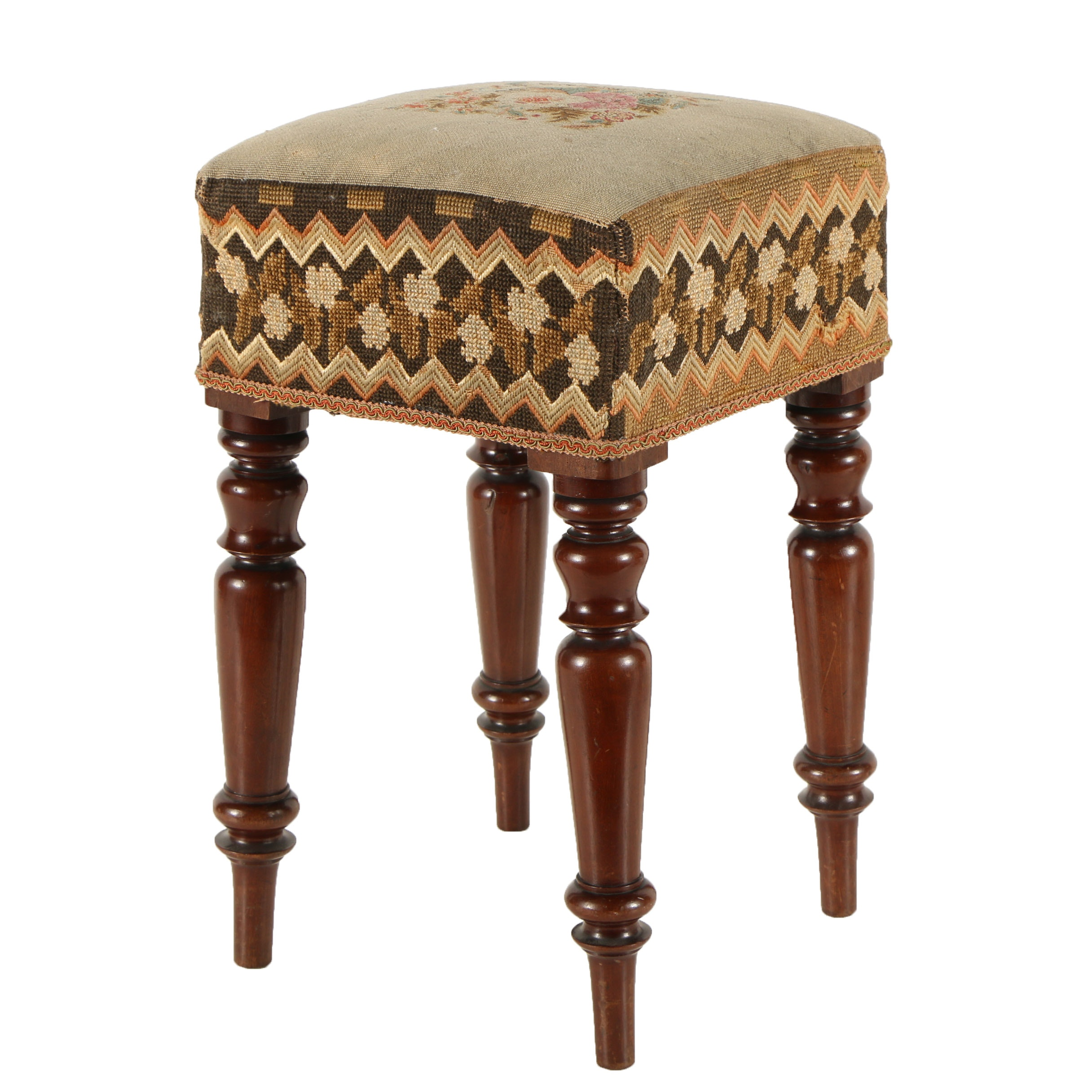 Vintage Wooden Footstool with Needle Point Designs