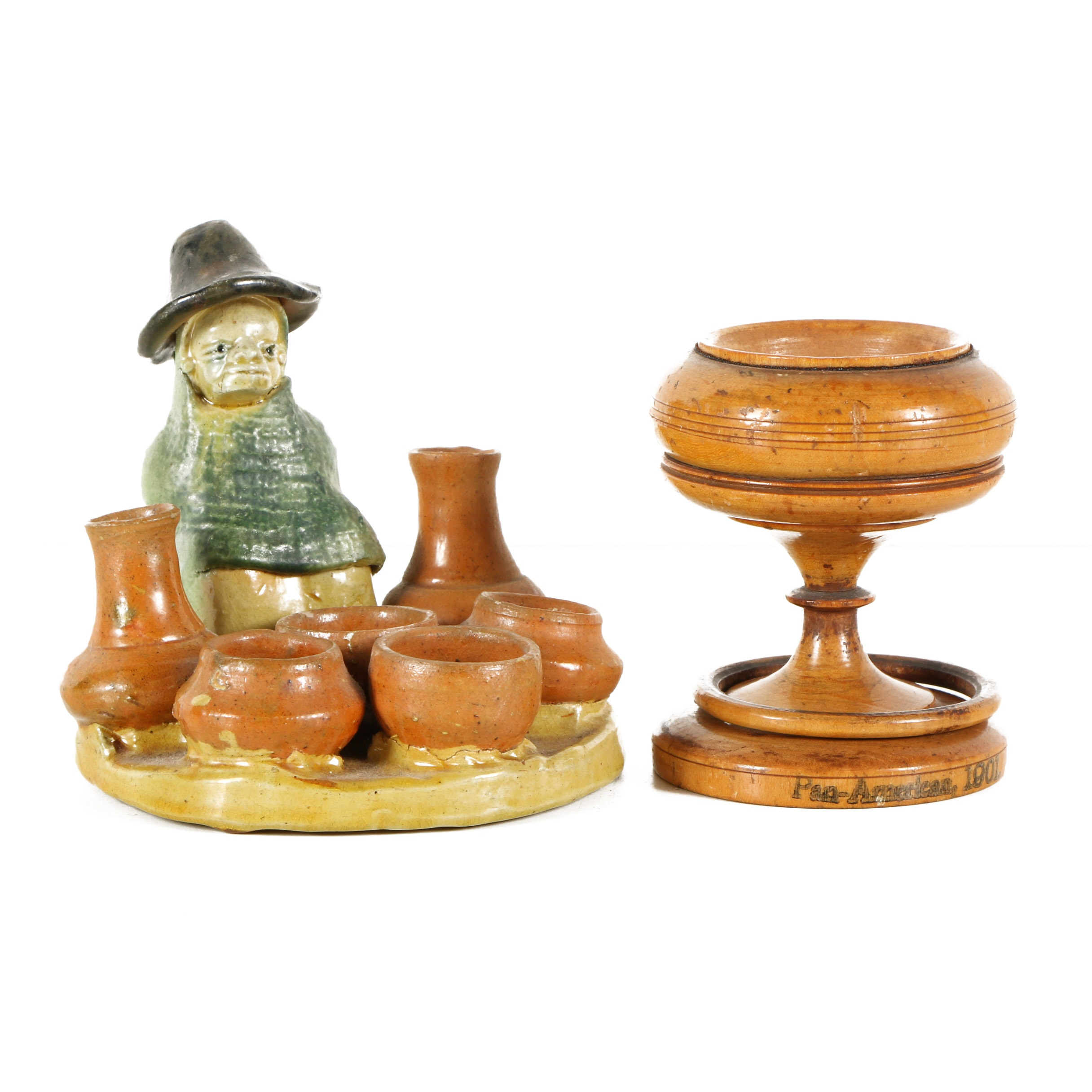 Ceramic Figure and Wooden Cup