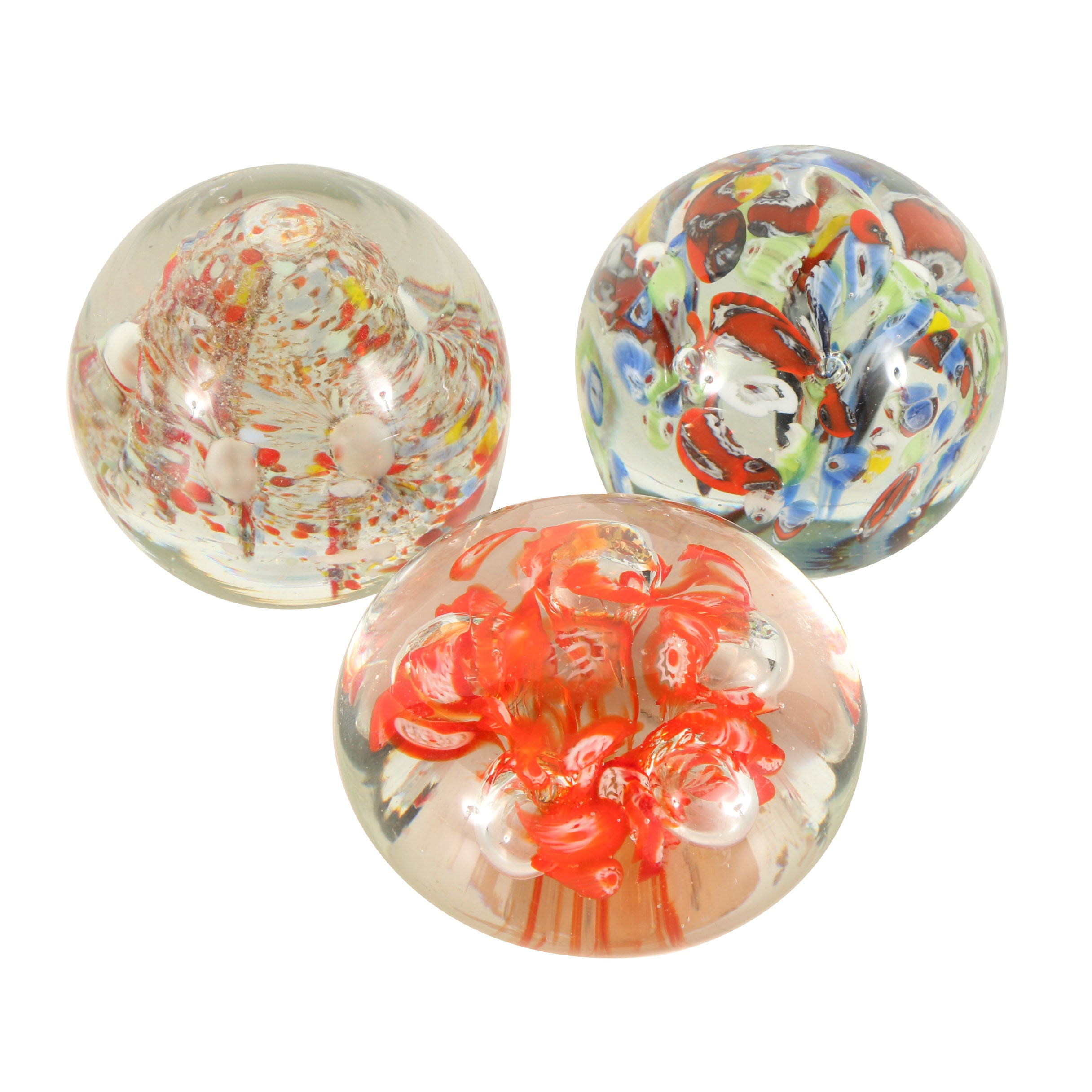 Three Hand-Blown Glass Paperweights