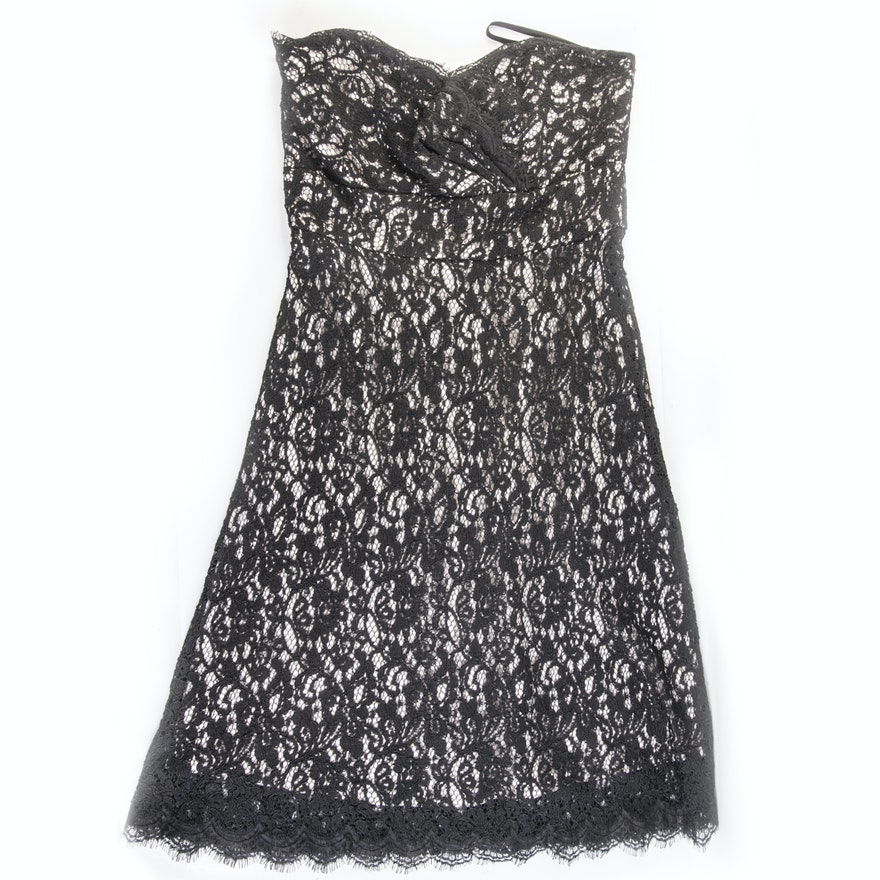 Womens White House Black Market Strapless Black Lace Cocktail Dress