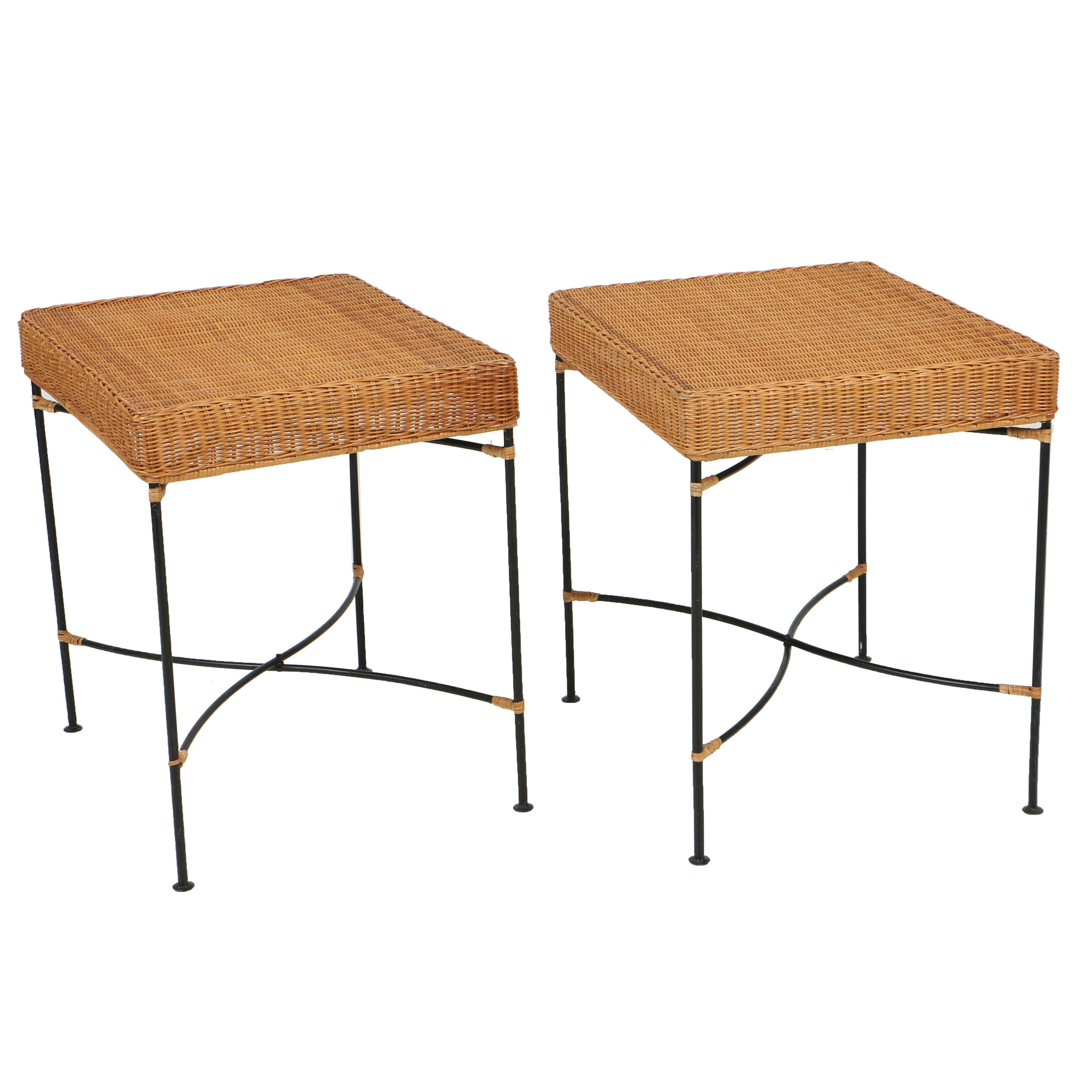 Wicker Side Tables with Folding, Iron Bases